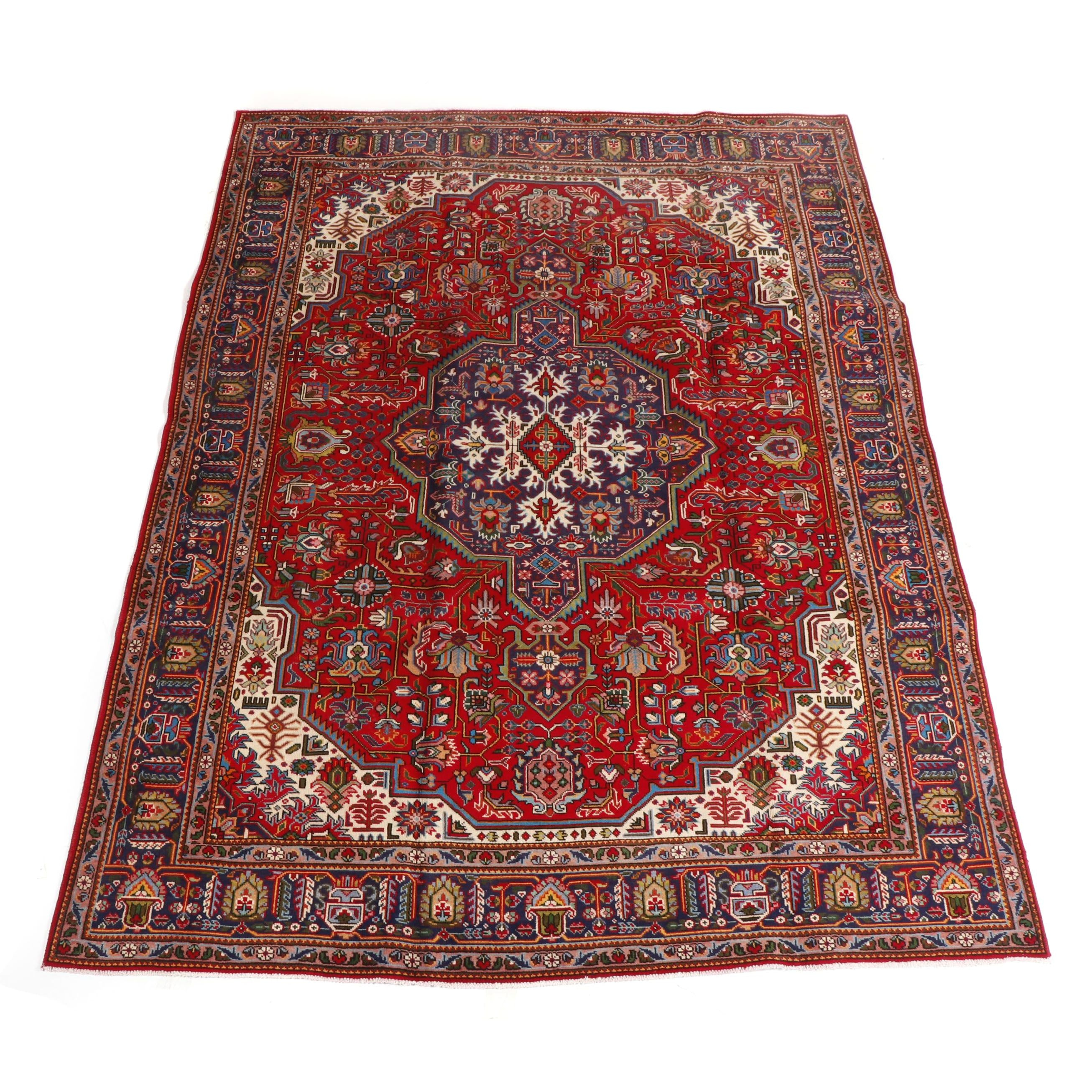 Hand-Knotted Tabriz Wool Area Rug, Contemporary