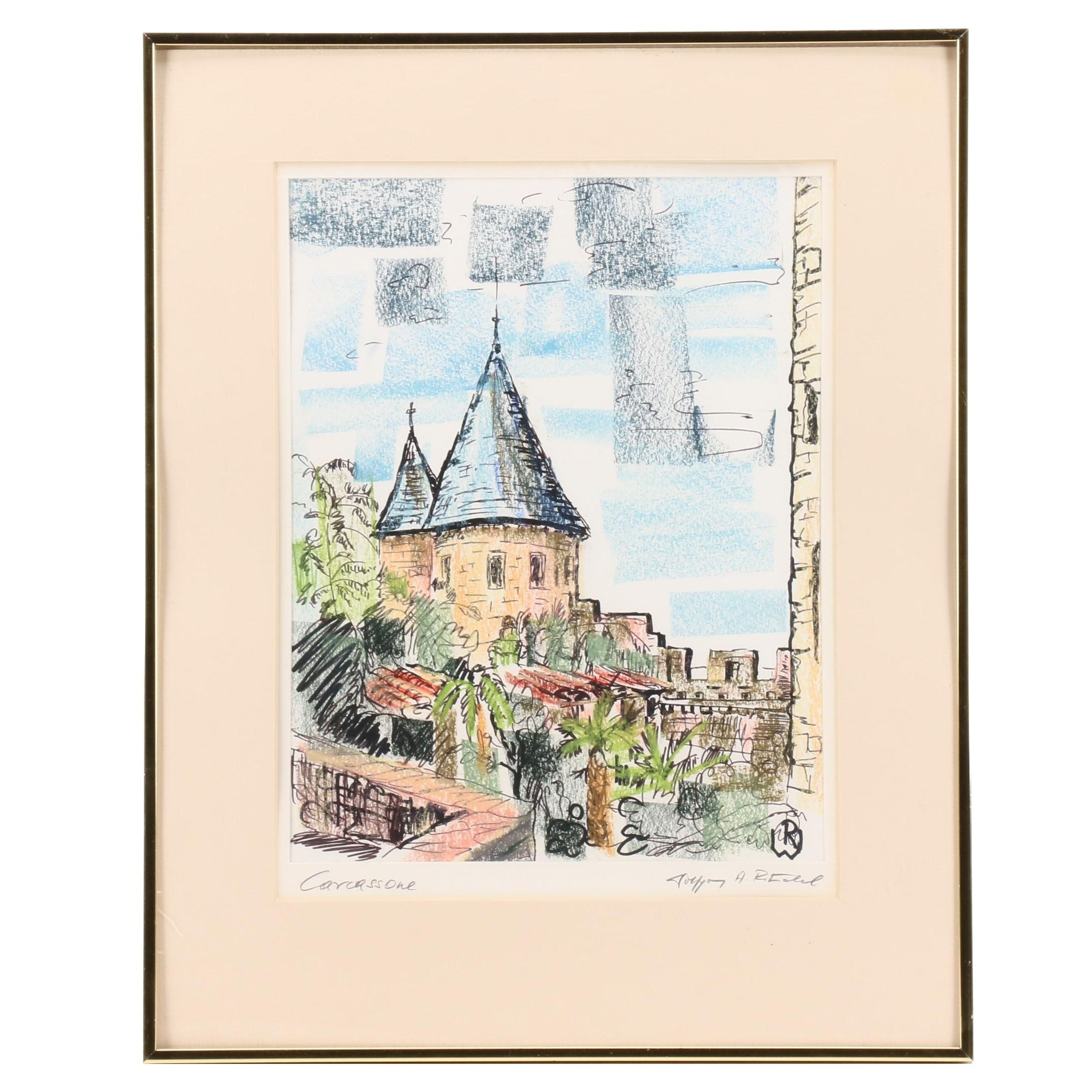 "Wolfgang A. Ritschel Marker and Pastel Drawing ""Carcassonne"""