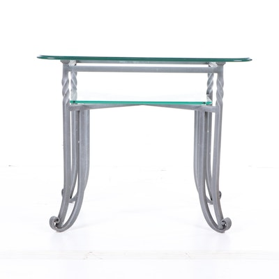 Contemporary Metal and Glass Two-Tier Side Table