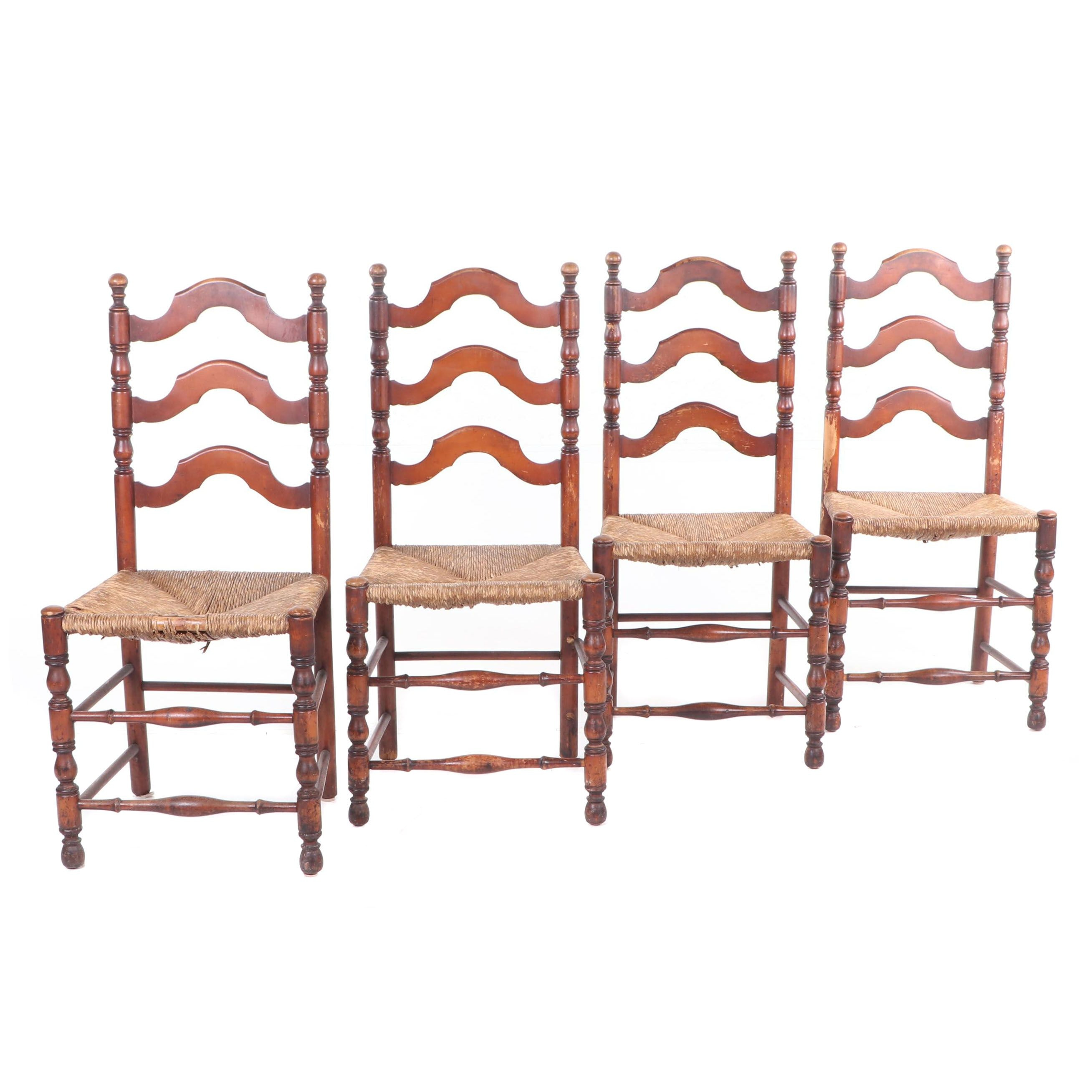 Rush Seat Ladder Back Dining Chairs