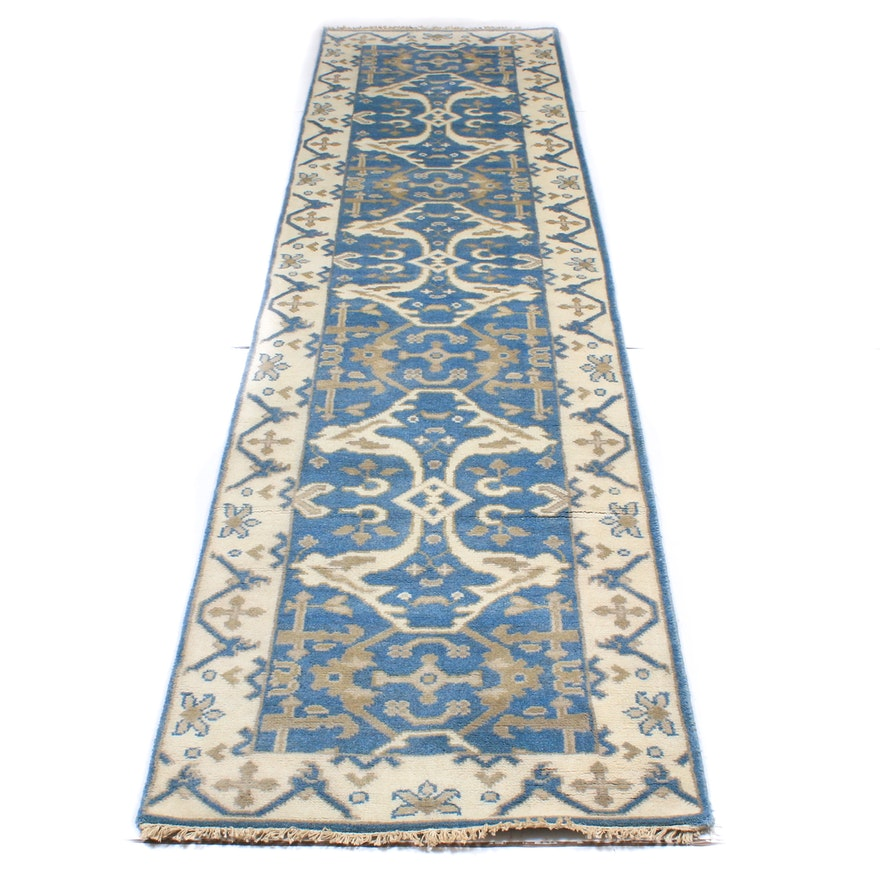 Hand-Knotted Turkish Oushak Wool Carpet Runner
