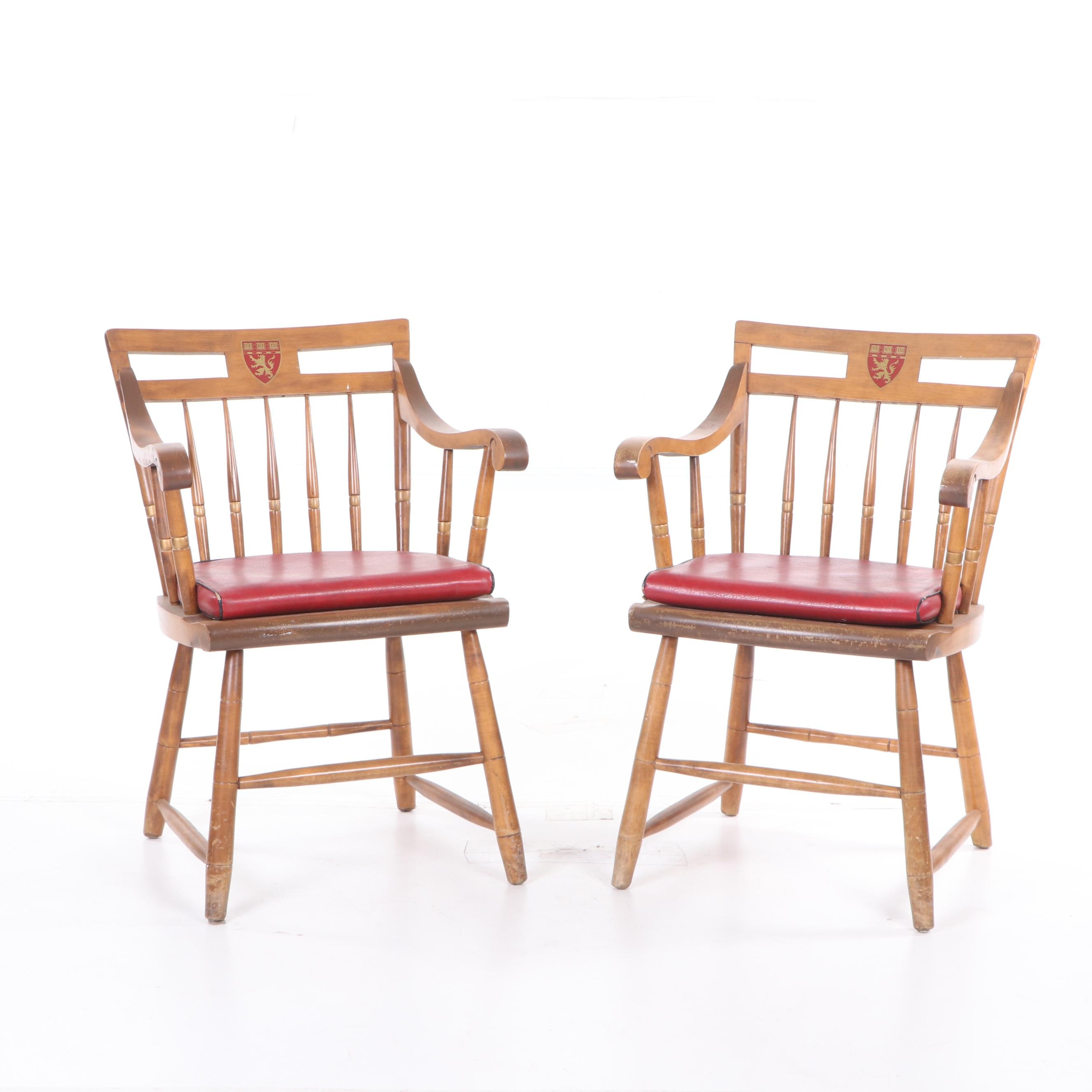 Nichols & Stone Harvard Windsor Style Maple Armchairs, Mid 20th Century