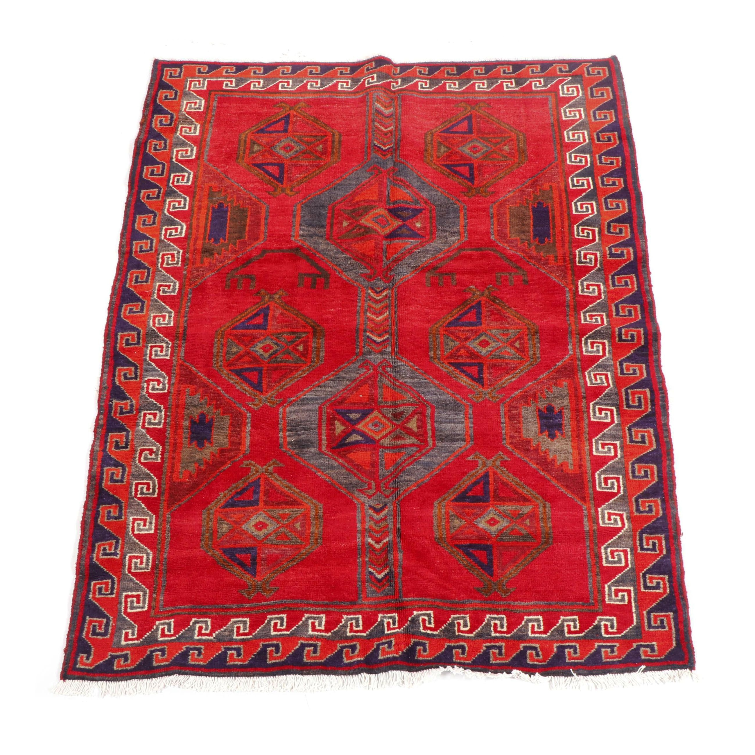 Hand-Knotted Qashqai Wool Area Rug