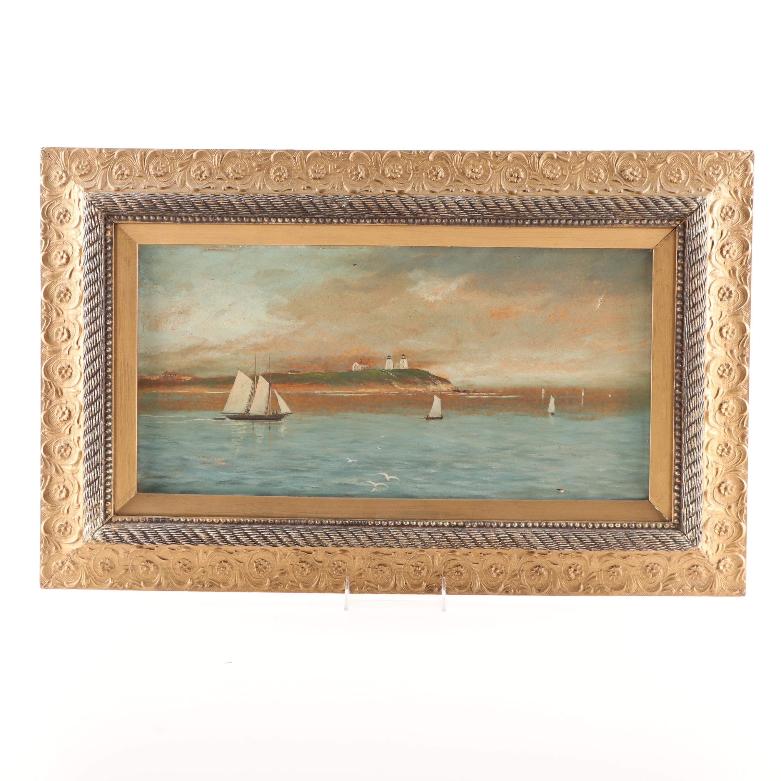 Early-Mid 20th Century Harbor Scene Oil Painting