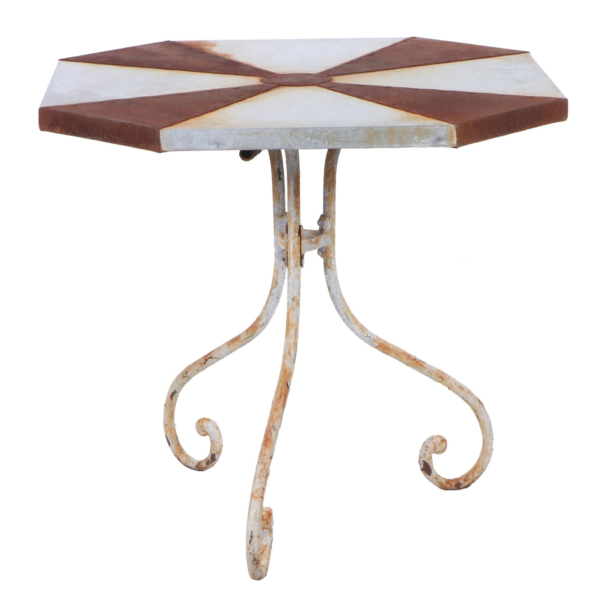 Weathered Painted Metal Octagonal Breakfast or Center Table, Mid 20th Century