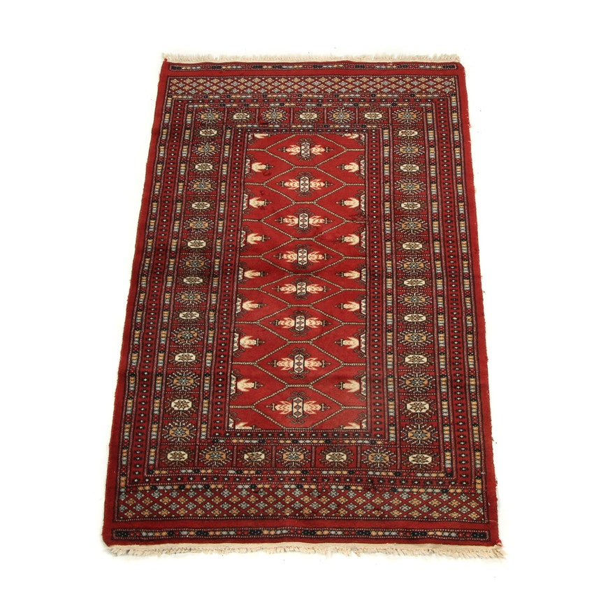 Vintage Hand Knotted Wool Bokhara Carpet