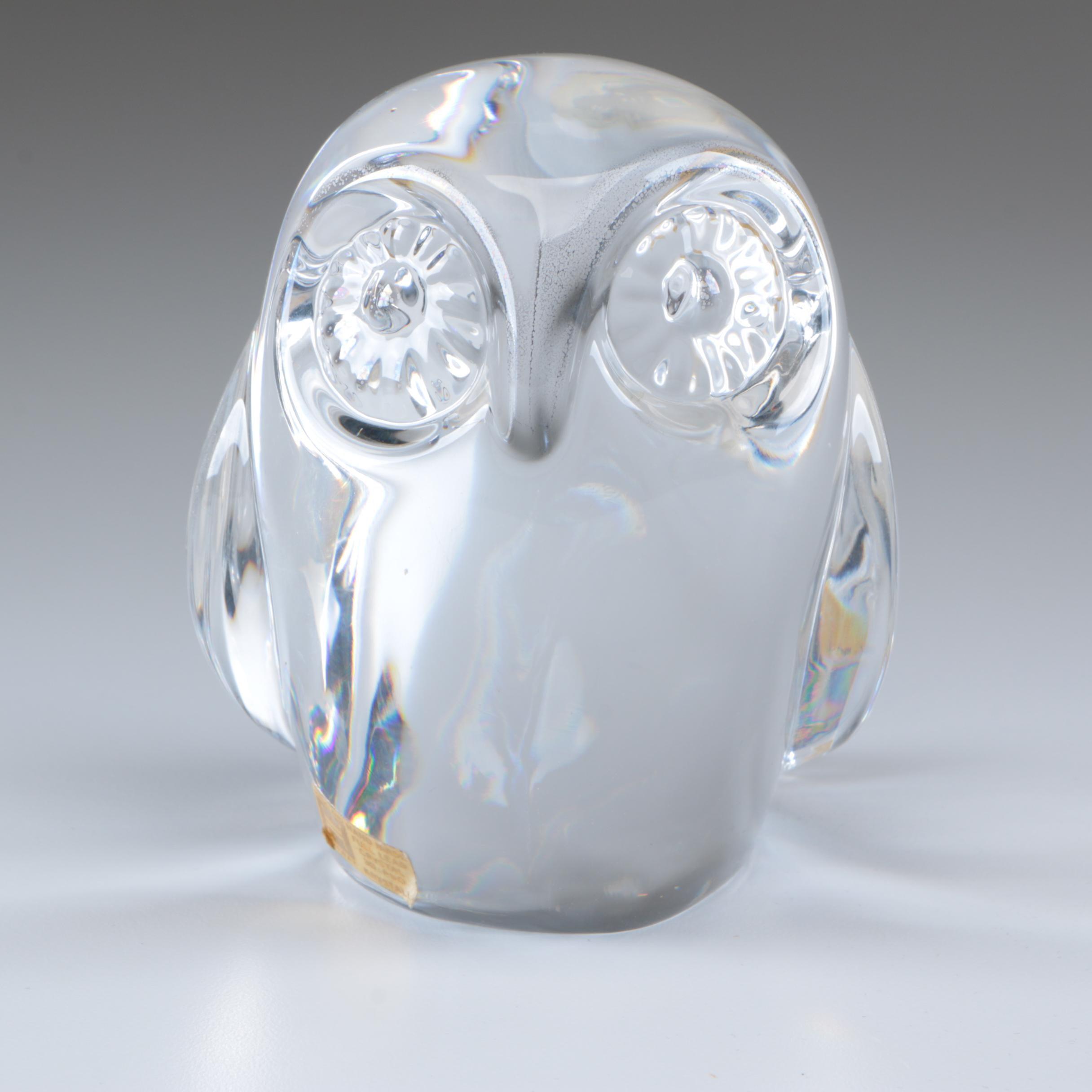 Norwegian Hadeland Crystal Owl Figurine