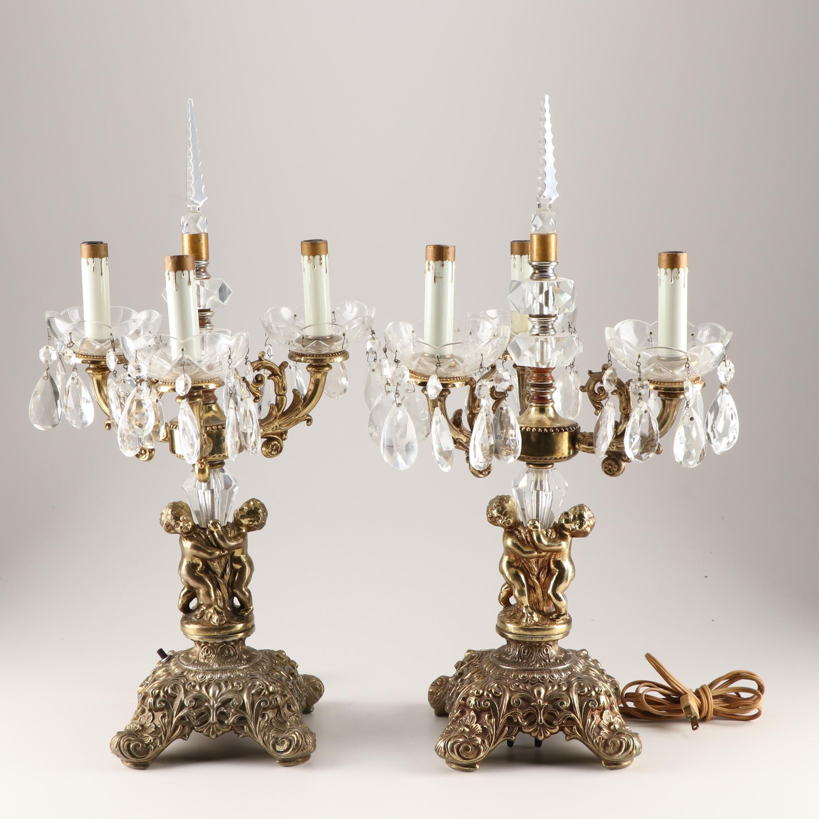 Hollywood Regency Style Cherub Brass and Glass Candelabra Table Lamps