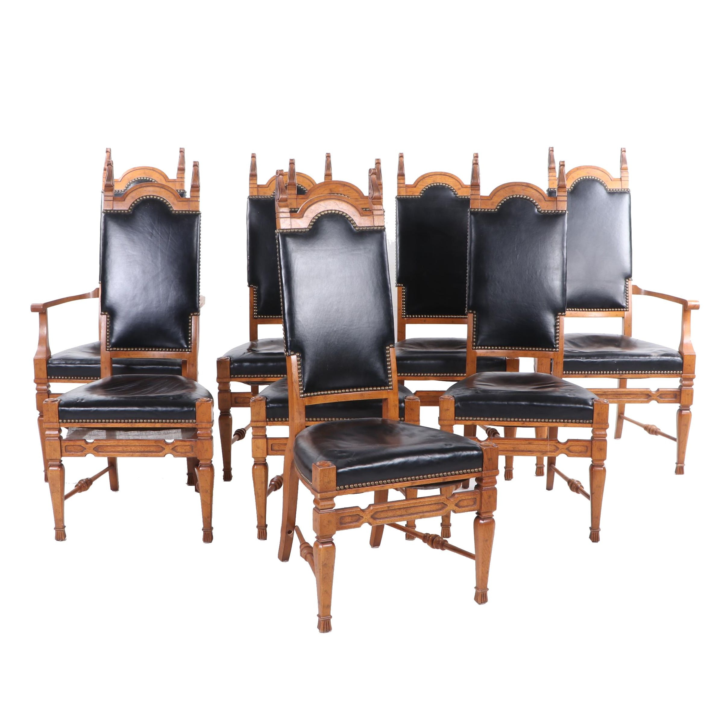 Renaissance Revival Style Oak Dining Chairs, Circa 1970