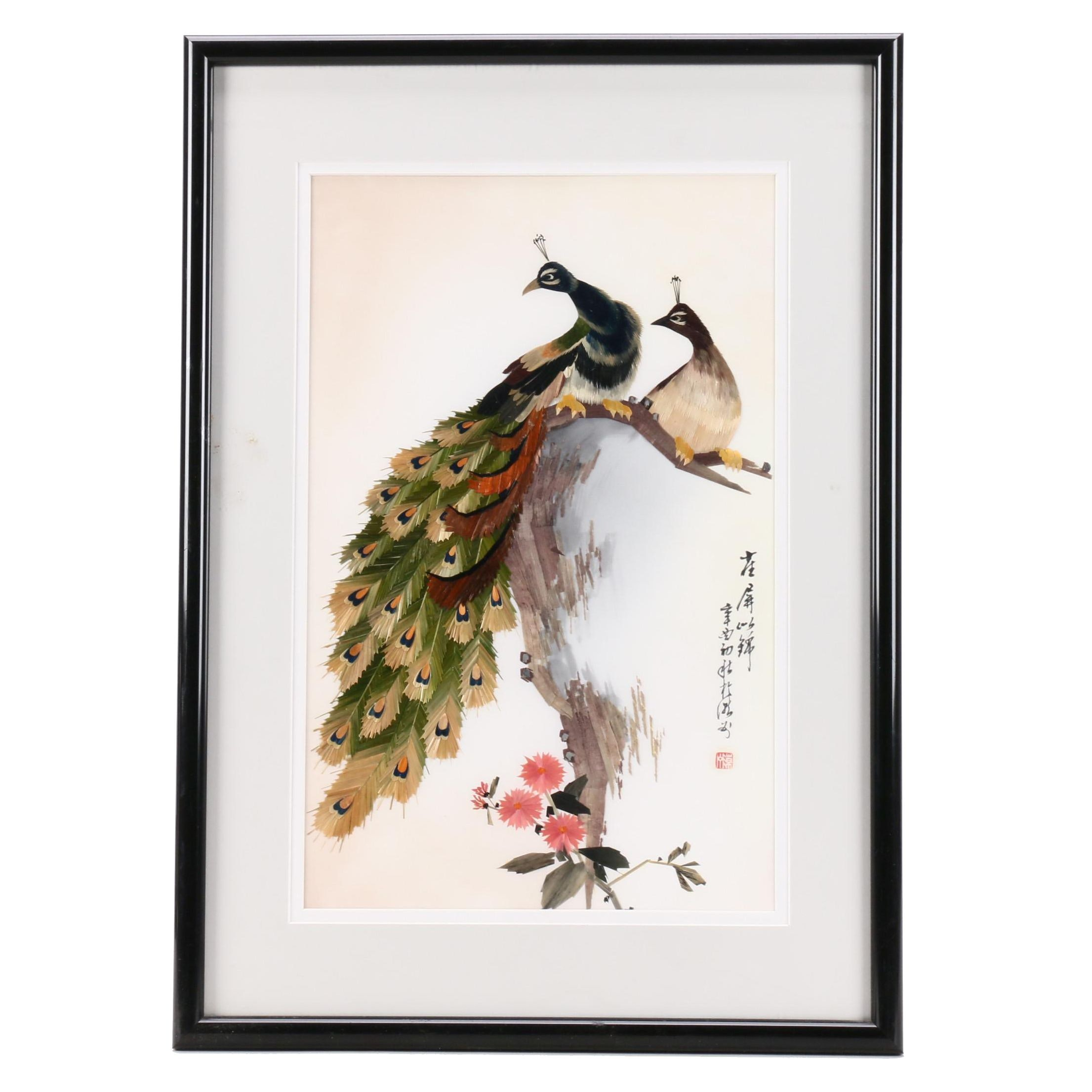 Chinese Mixed Media Collage of Peacocks Perched on Branch