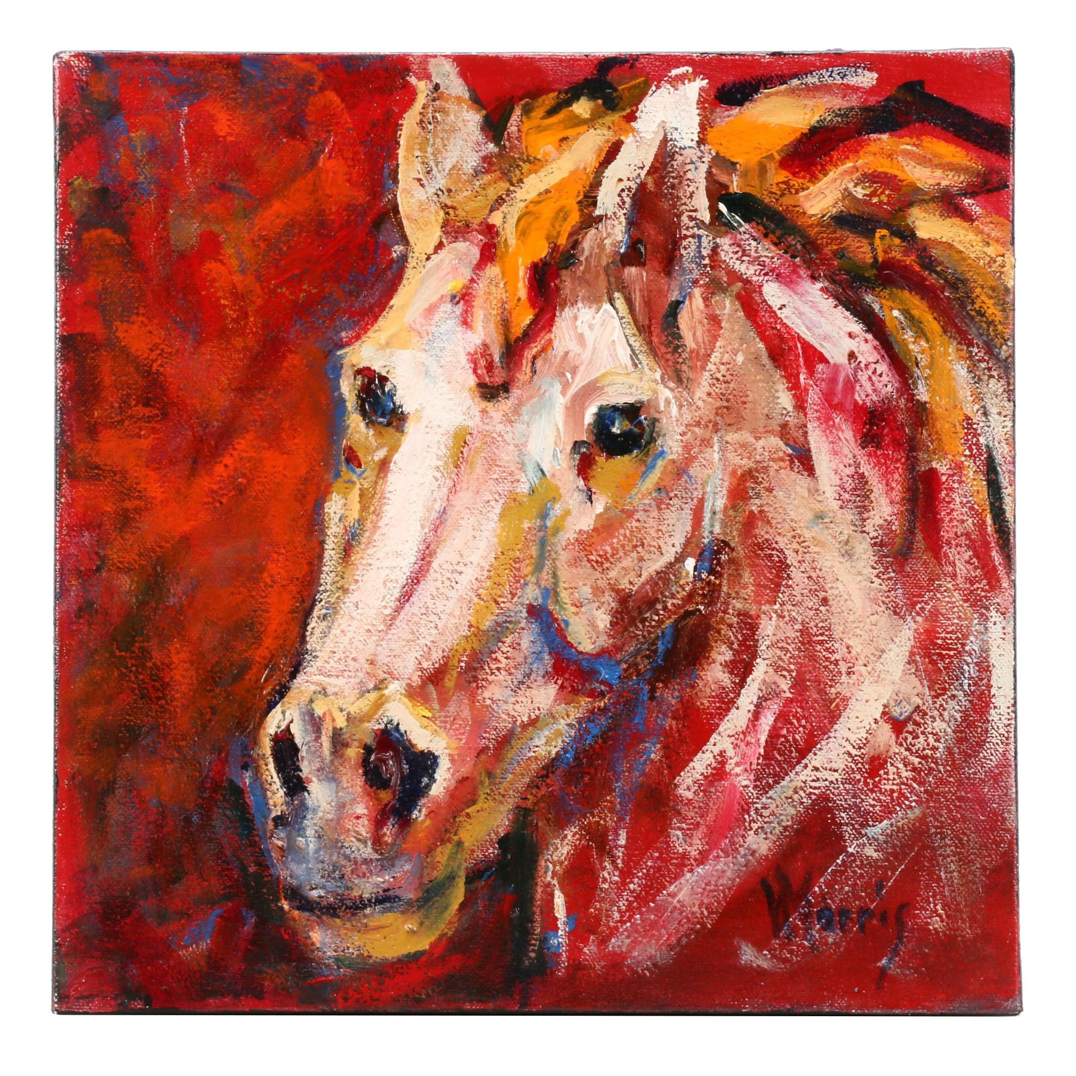 "Velma J. Morris Acrylic Painting ""Colorful Horse"""