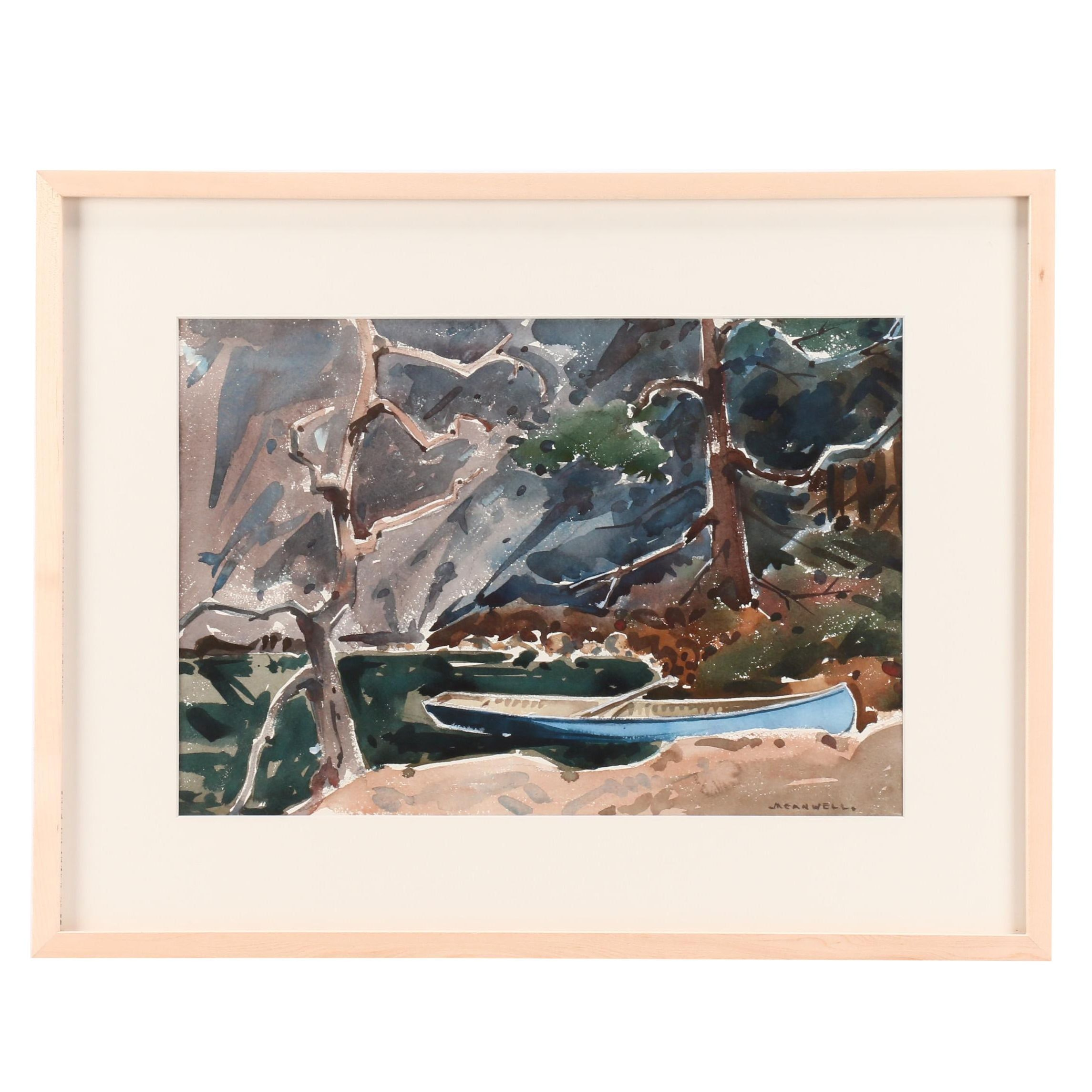 Jack Meanwell Watercolor Painting of Woodland Stream with Canoe