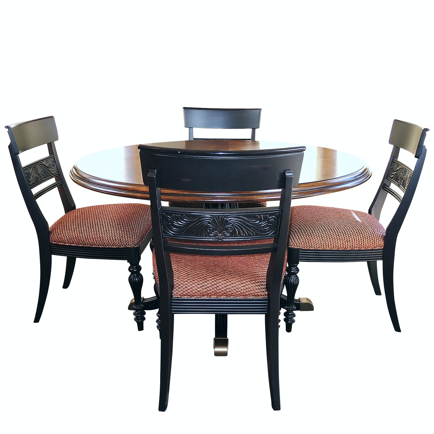 Drexel Pedestal Dining Table and Ethan Allen Side Chairs, Contemporary
