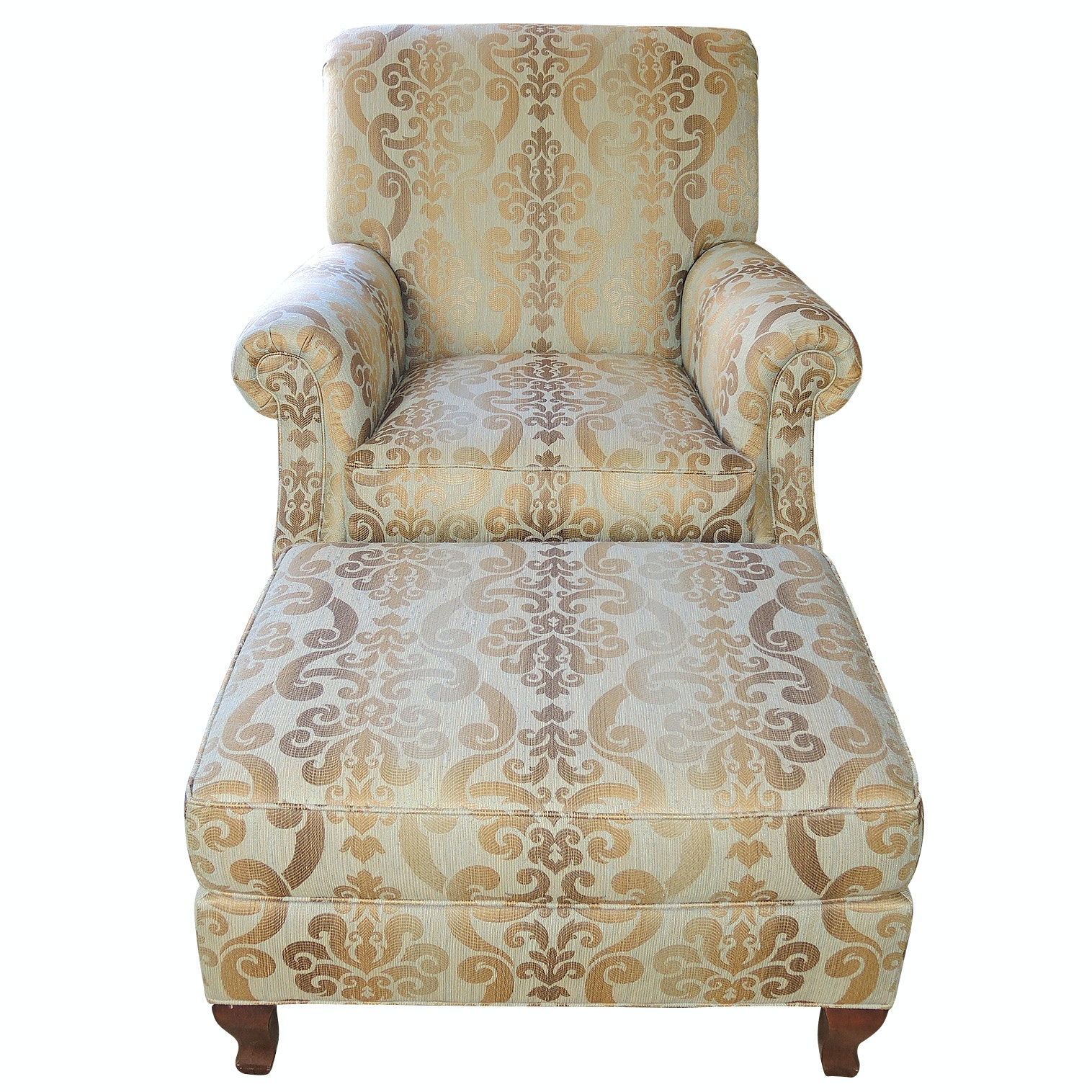 Ethan Allen Upholstered Arm Chair and Ottoman