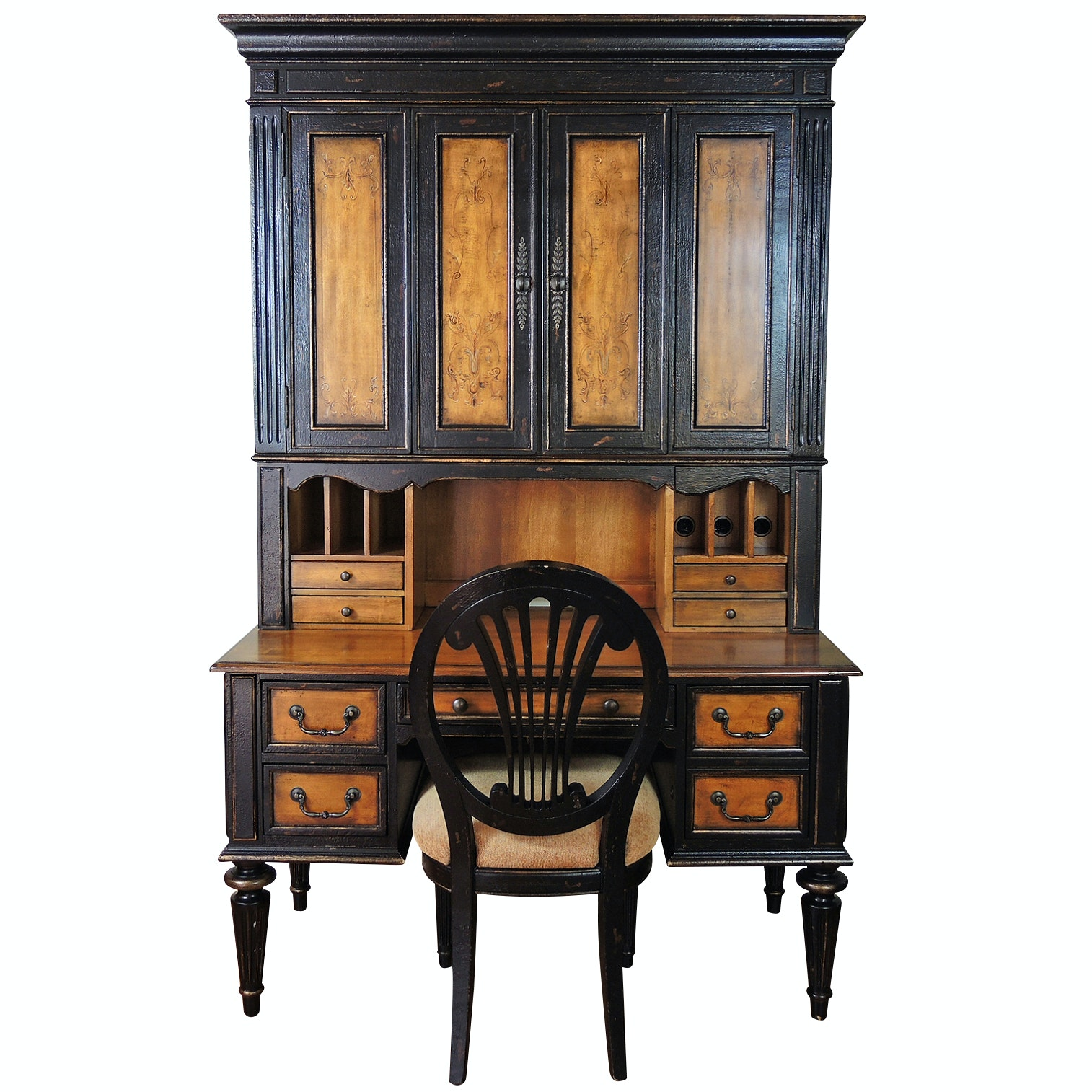 Hooker Furniture North Hampton Distressed Desk, Hutch and Chair, Contemporary