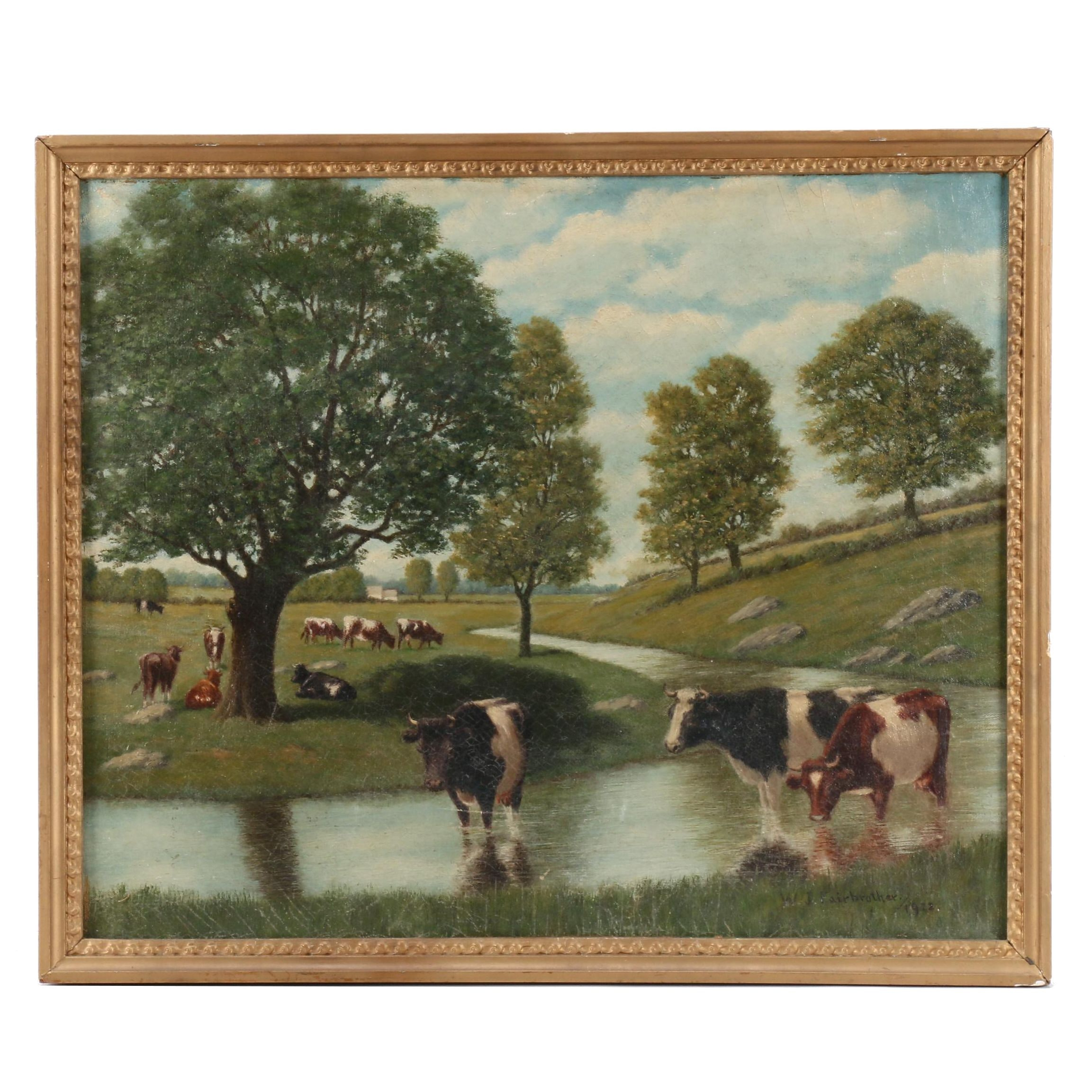 W.T. Fairbrother Oil Painting of Pastoral Scene with Cows