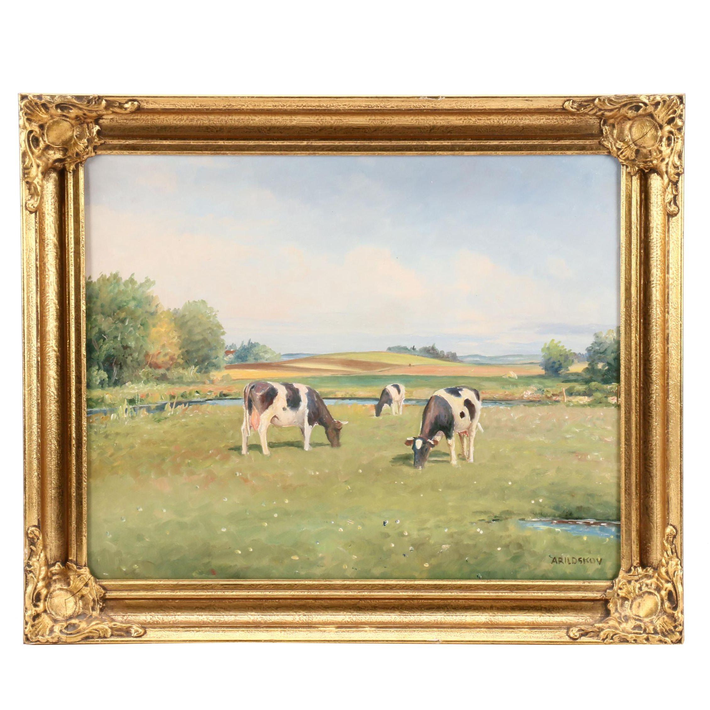 Max Arildskov Oil Painting of Pastoral Scene