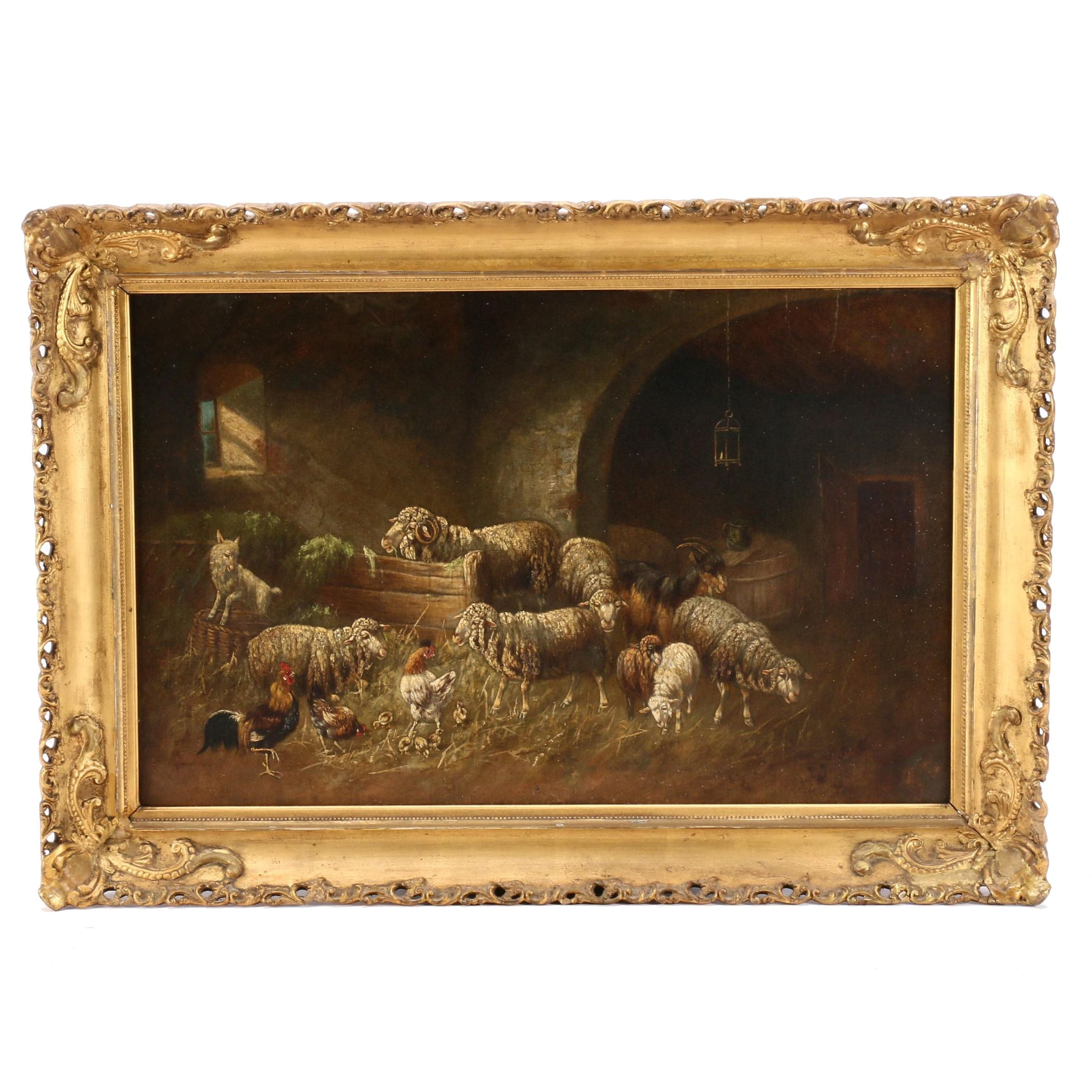 Johanna Grell Oil Painting of Sheep, Chickens and Goats in Stable