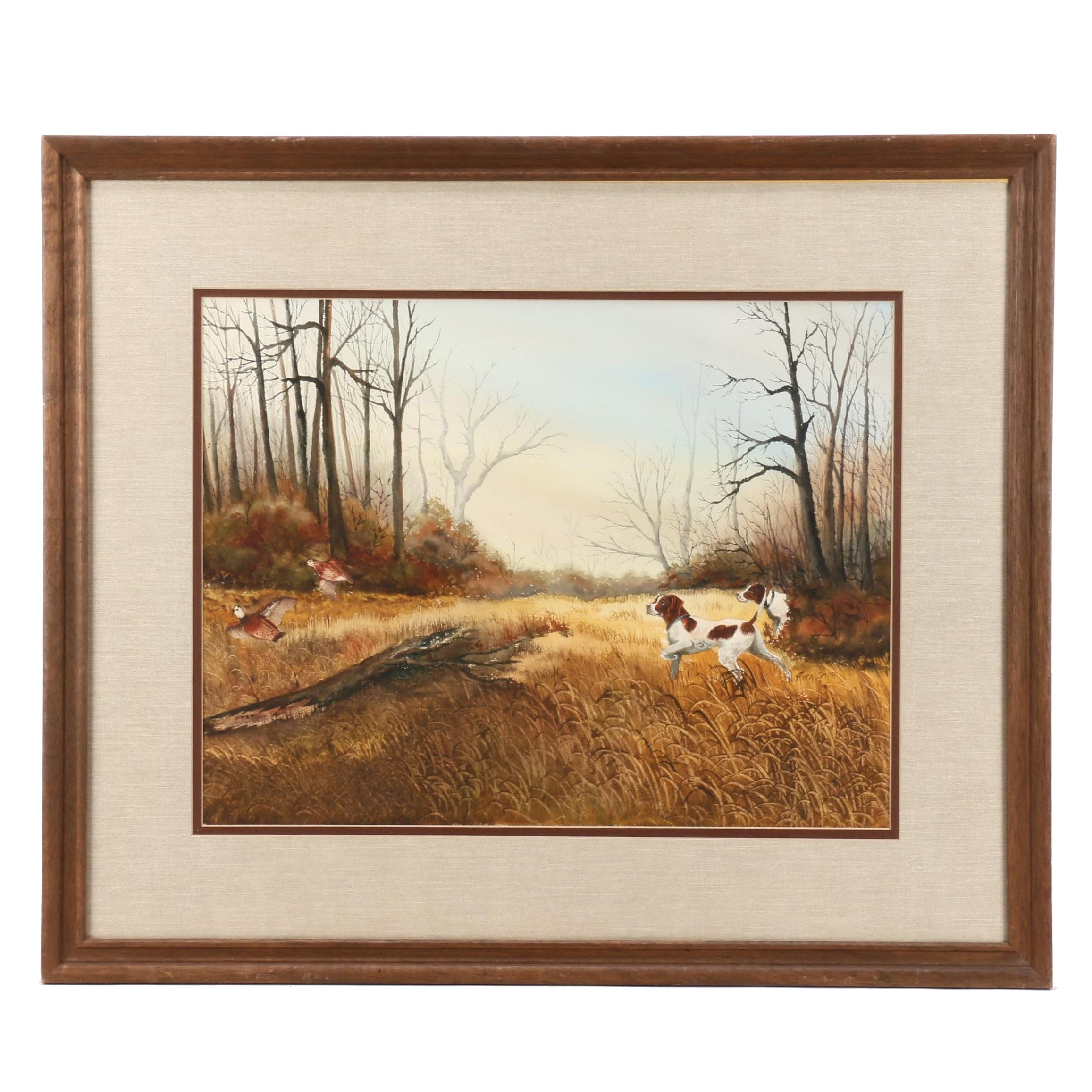Rita Smith Watercolor of Hunting Dogs with Game Birds