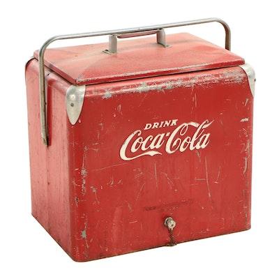 Metal Coca-Cola Cooler, Mid-Century