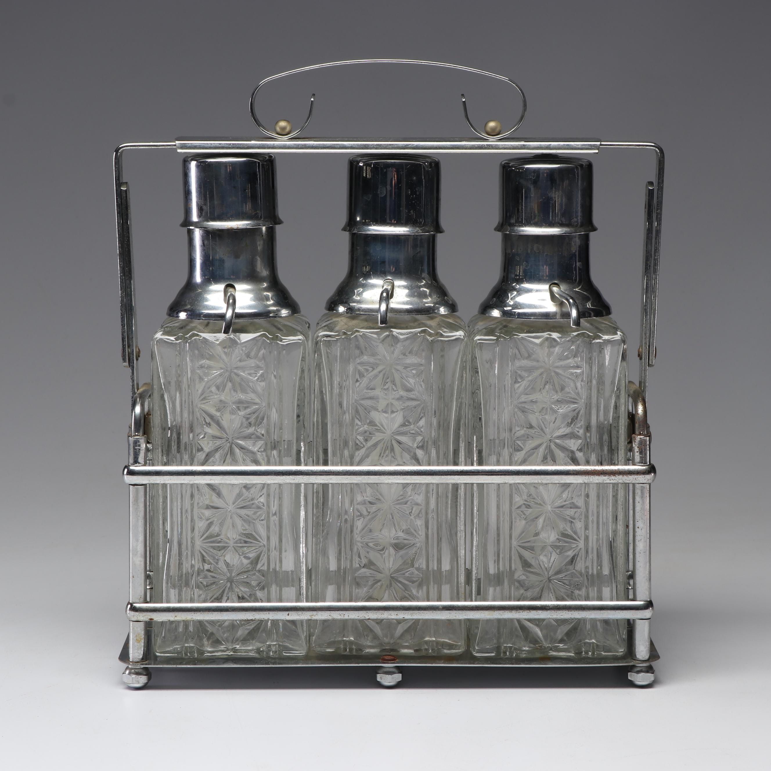 Mid-Century Stainless Steel and Glass Decanter Set