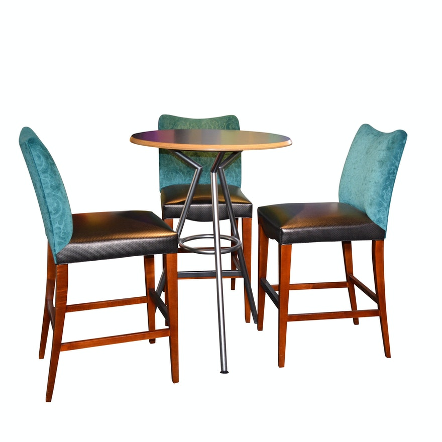 Awesome Contemporary Pub Table And Counter Height Upholstered Stools Set Of Three Theyellowbook Wood Chair Design Ideas Theyellowbookinfo