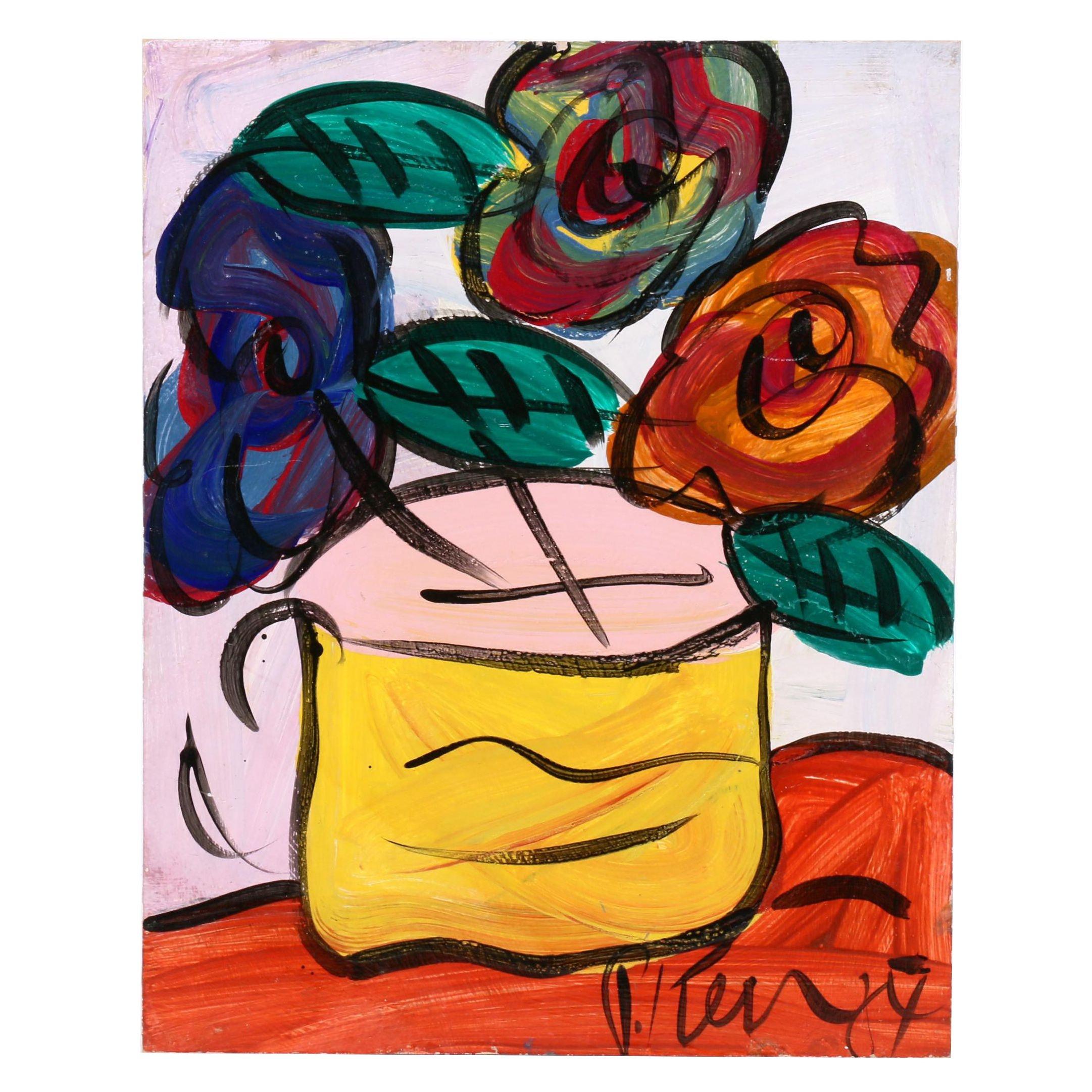 Peter Keil Still Life Oil Painting of Flowers in Vase
