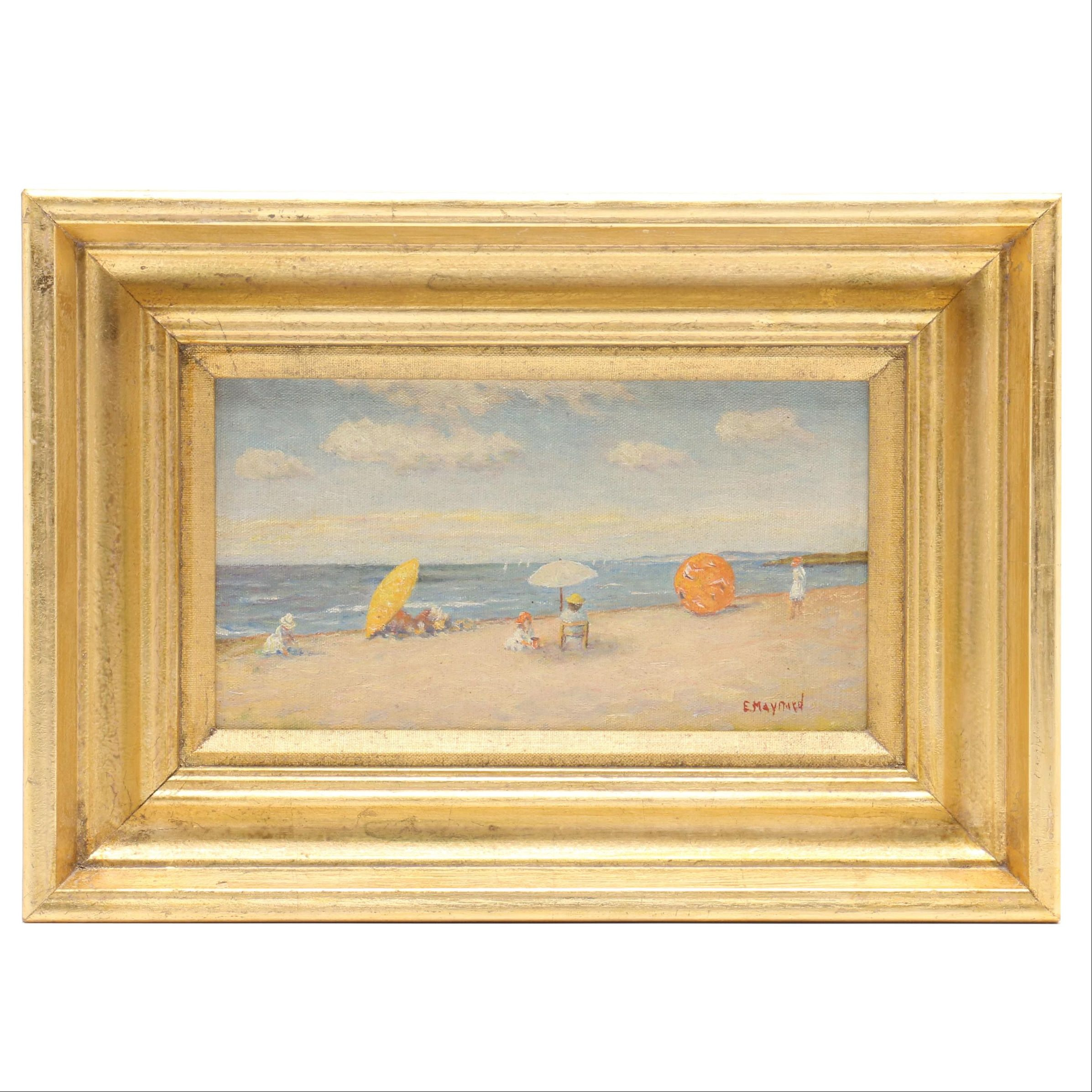 Edwin Maynard Oil Painting of Figures on the Shore