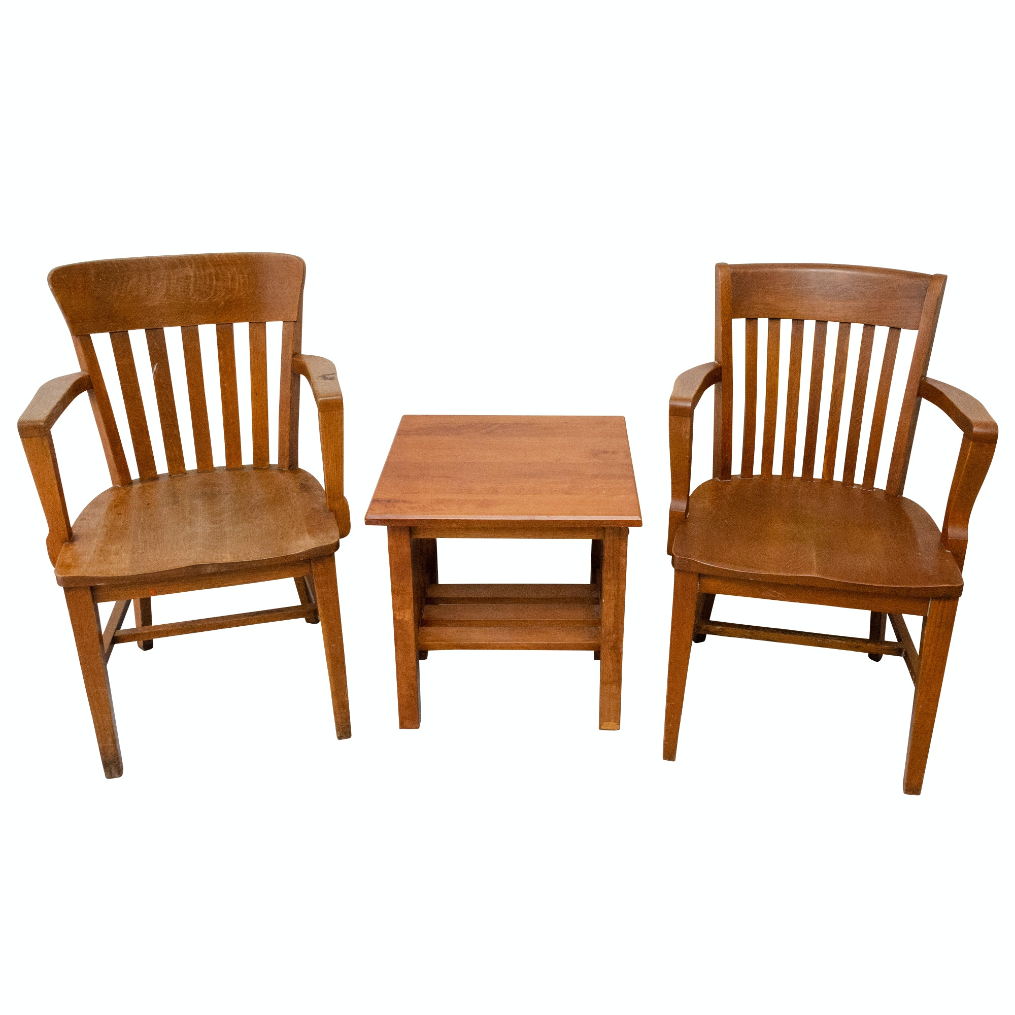 Mission Style Armchairs and Accent Table
