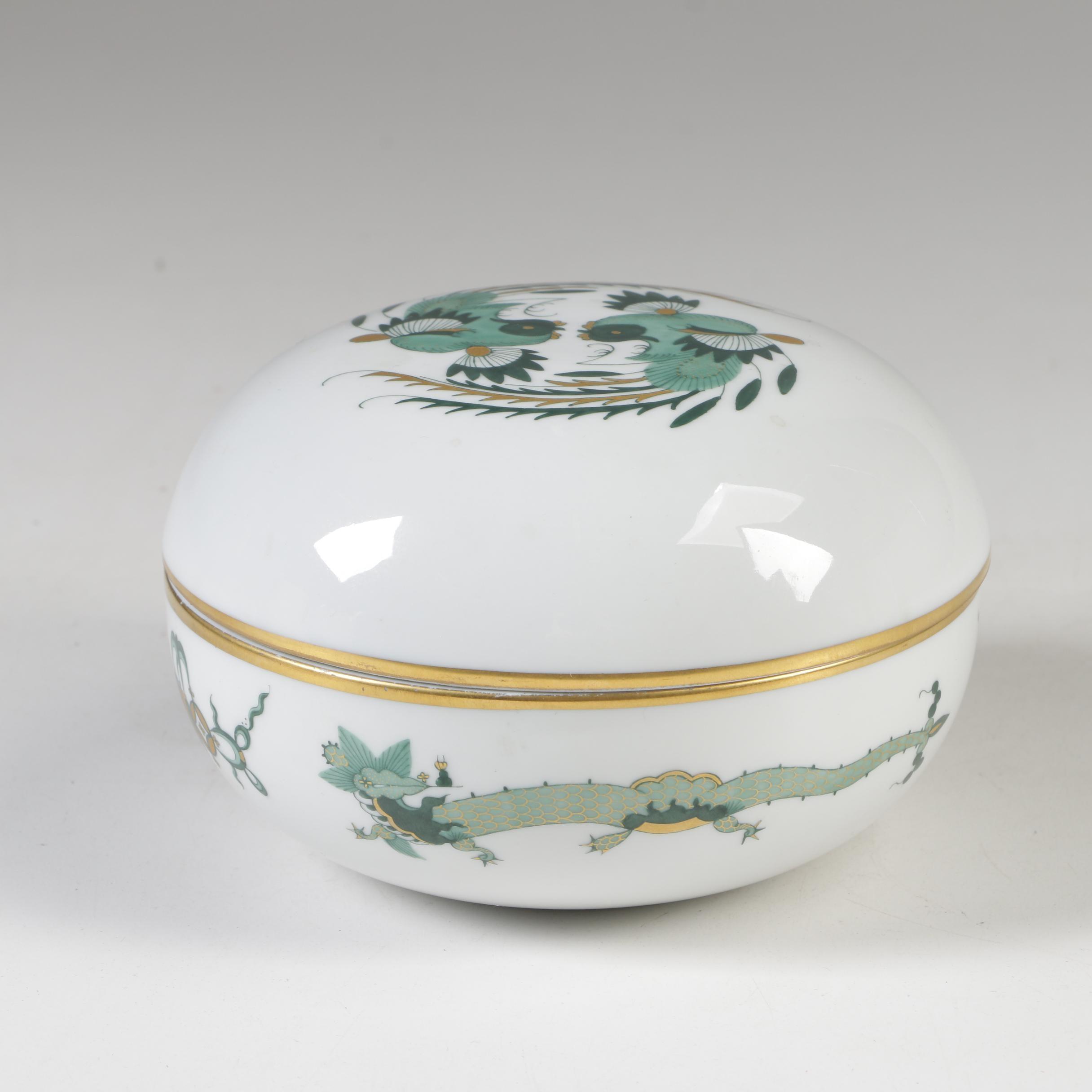 "Meissen ""Green Dragon"" Porcelain Trinket Box"