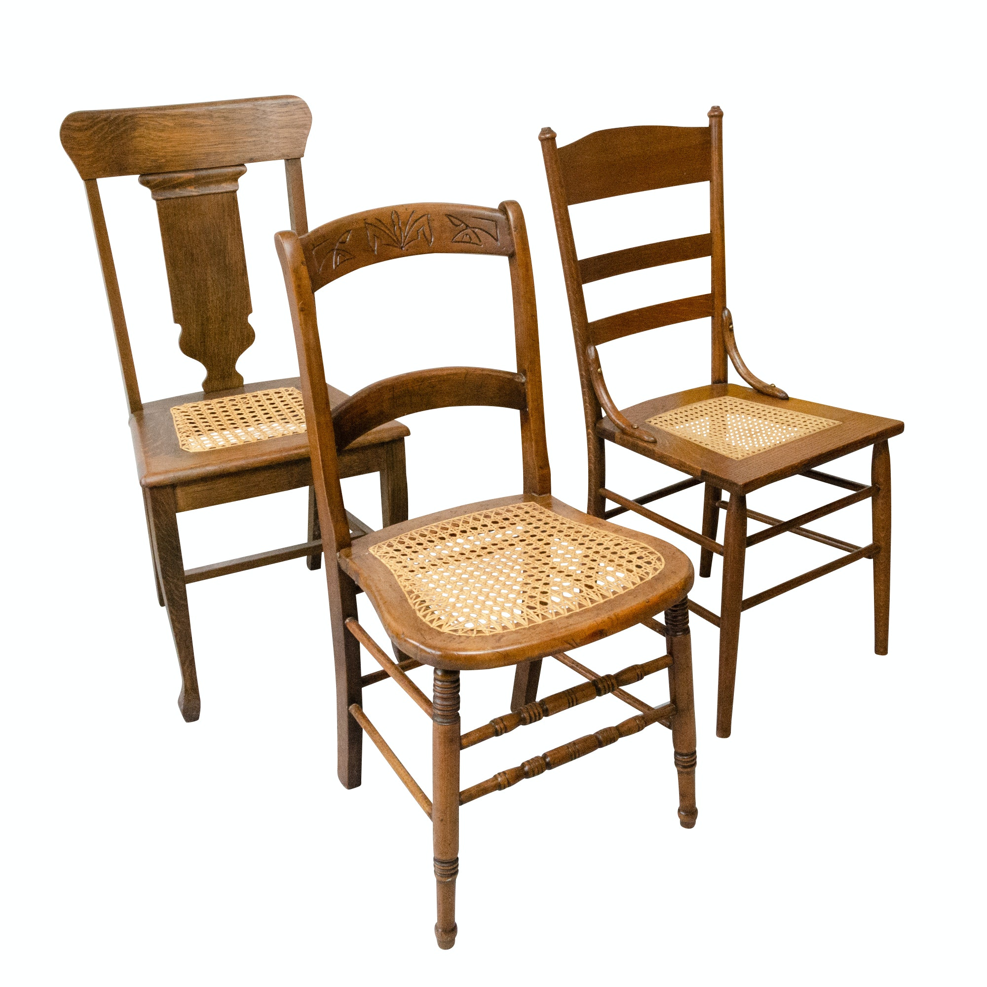 Colonial Style Oak Dining Chairs, Three