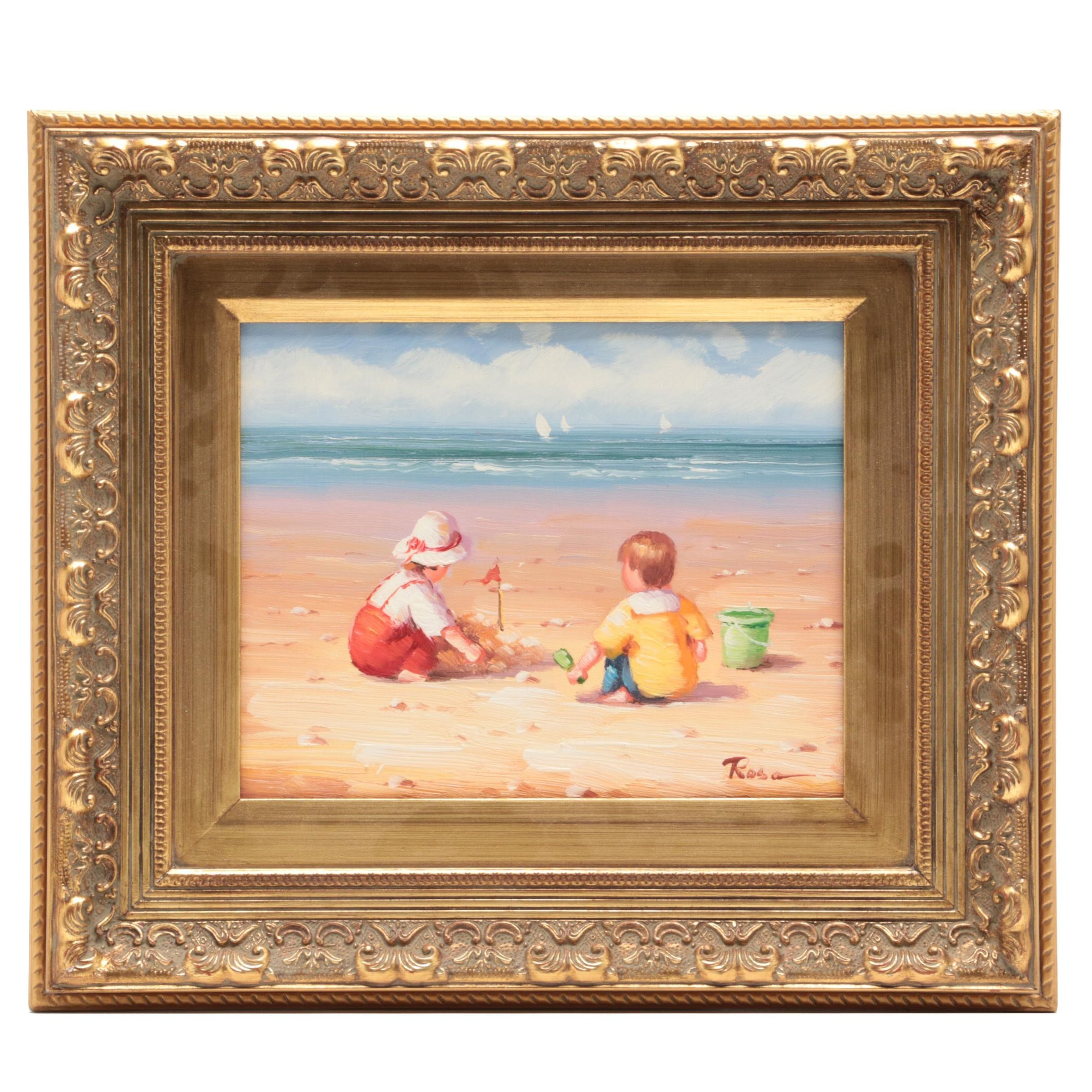 Rosa Oil Painting of Children at Shore
