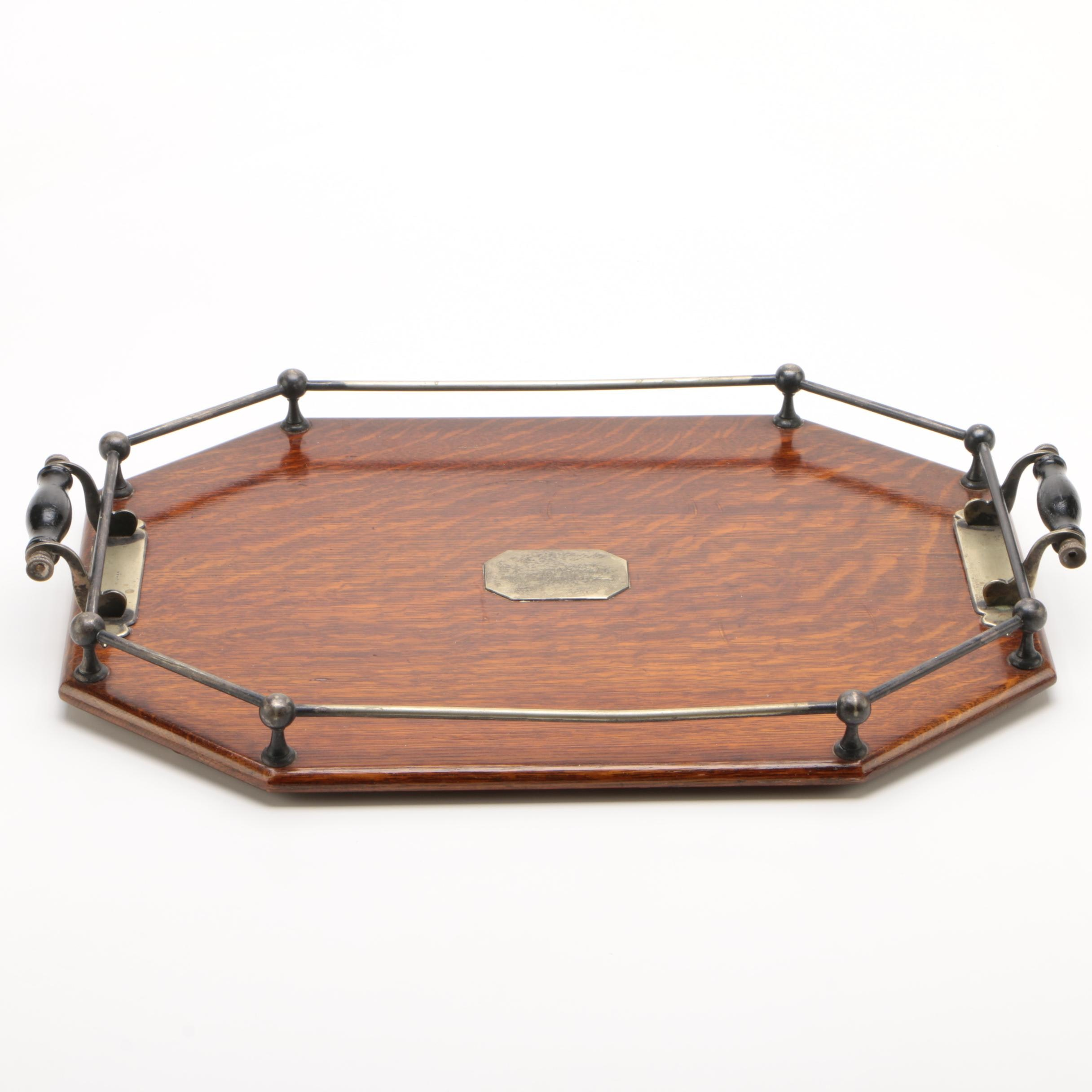 Silver Plate and Quarter Sawn Oak Serving Tray, Early 20th Century