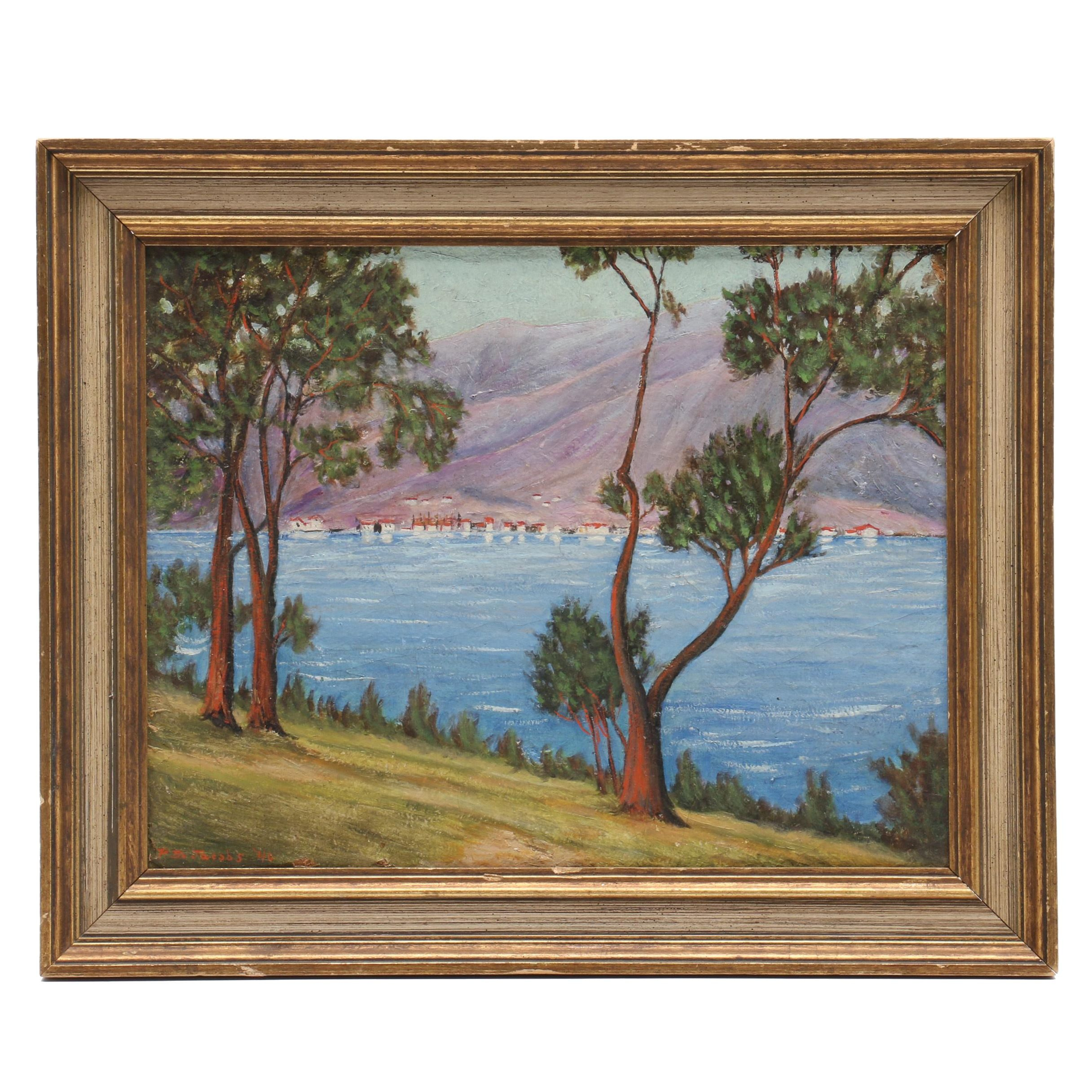 Paul Burke Jacobs Landscape Oil Painting of Lake Como