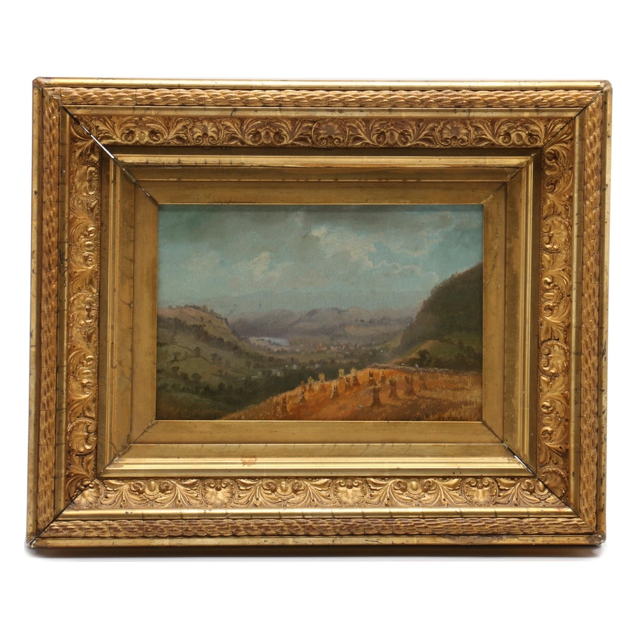 Charles Day Hunt Oil Painting of Pastoral Landscape with Sheaves of Wheat
