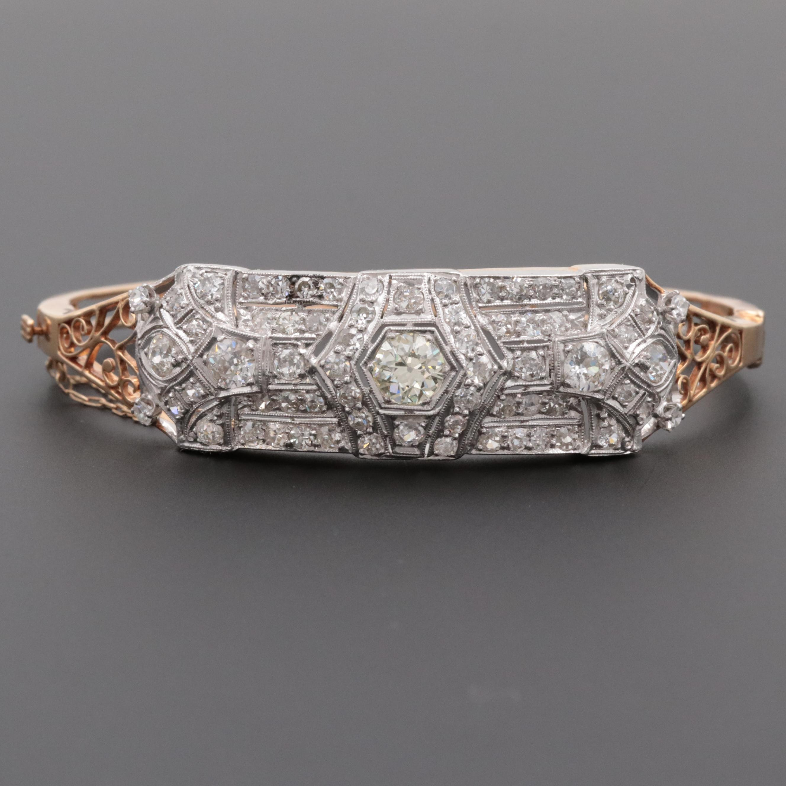 Art Deco 14K Yellow Gold 4.48 CTW Diamond Bangle Bracelet with Platinum Trim