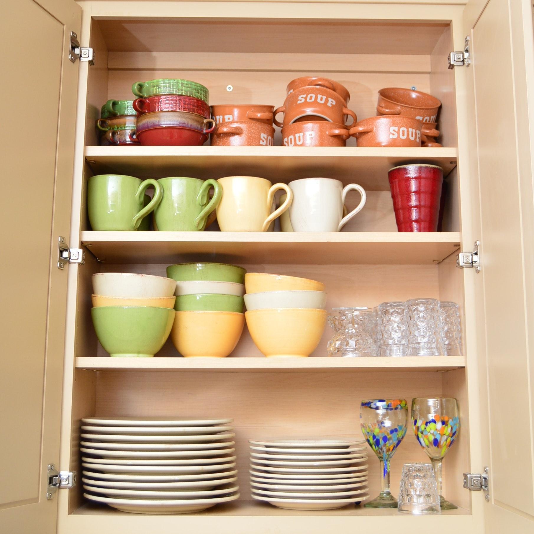 "Italian Ceramic Dinnerware and ""Optic"" Pressed Glass Stemware"