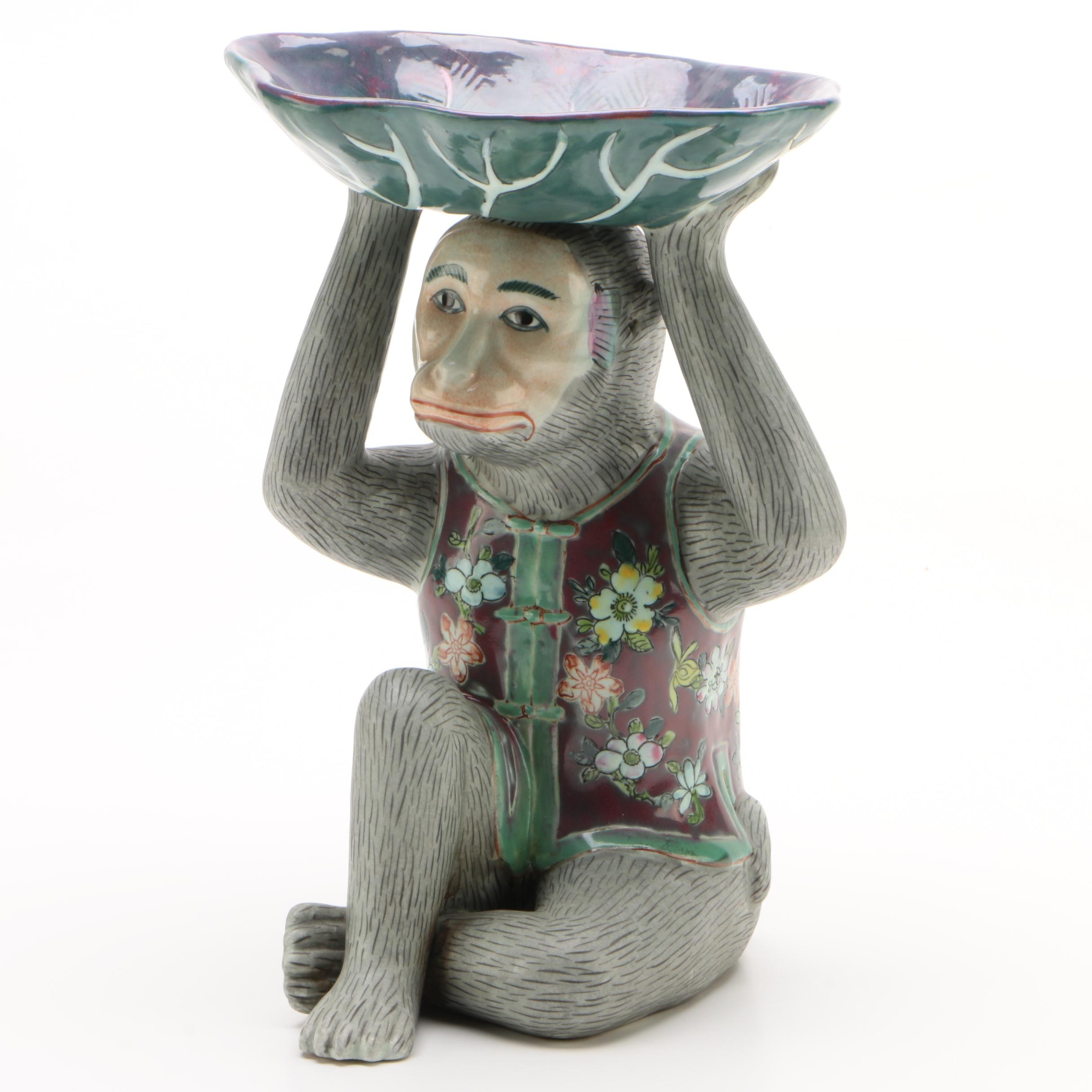 Chinese Hand-Painted Ceramic Figural Monkey with Lotus Leaf Pedestal Bowl