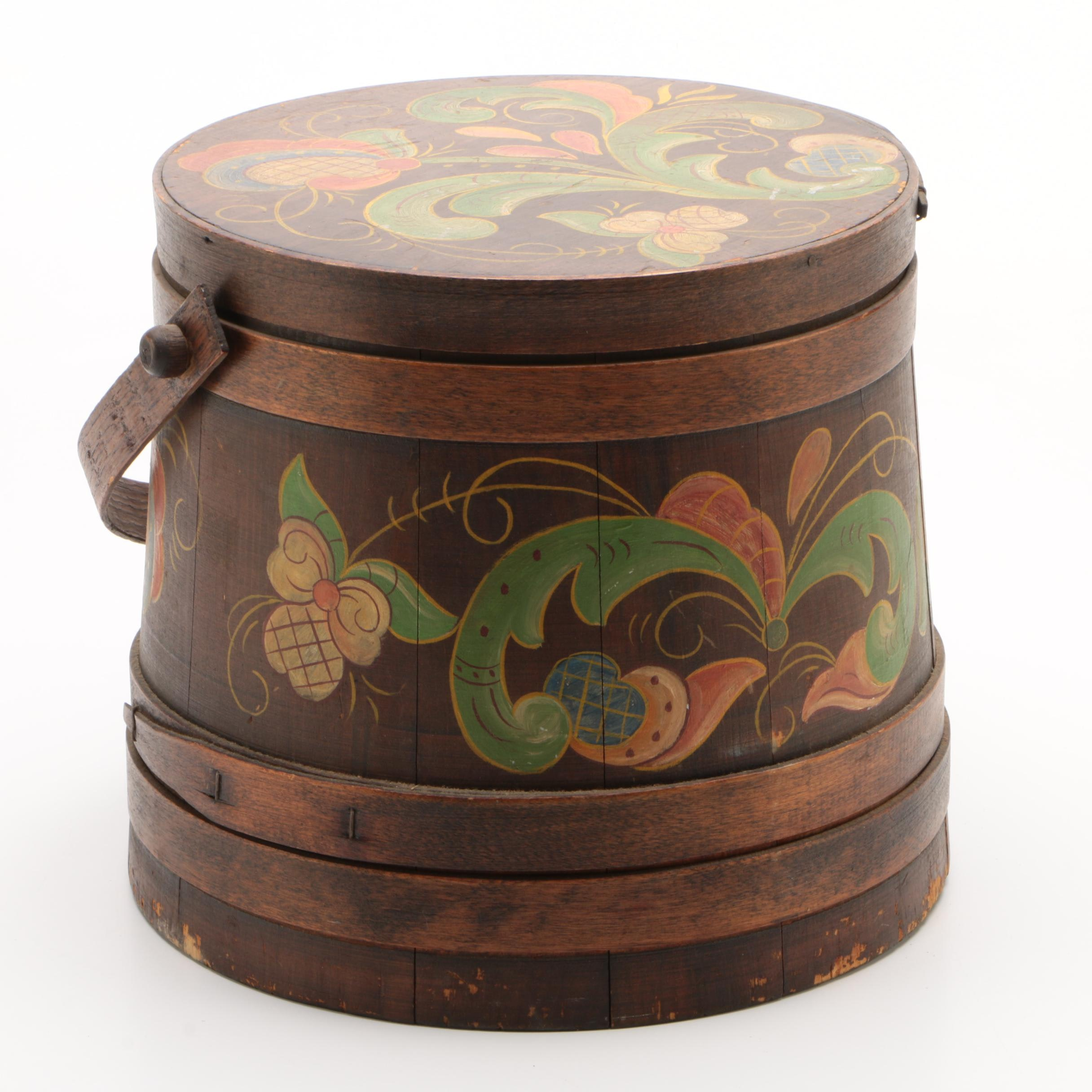 Colonial Revival Hand-Painted Wooden Firkin Sugar Bucket, Late 19th Century