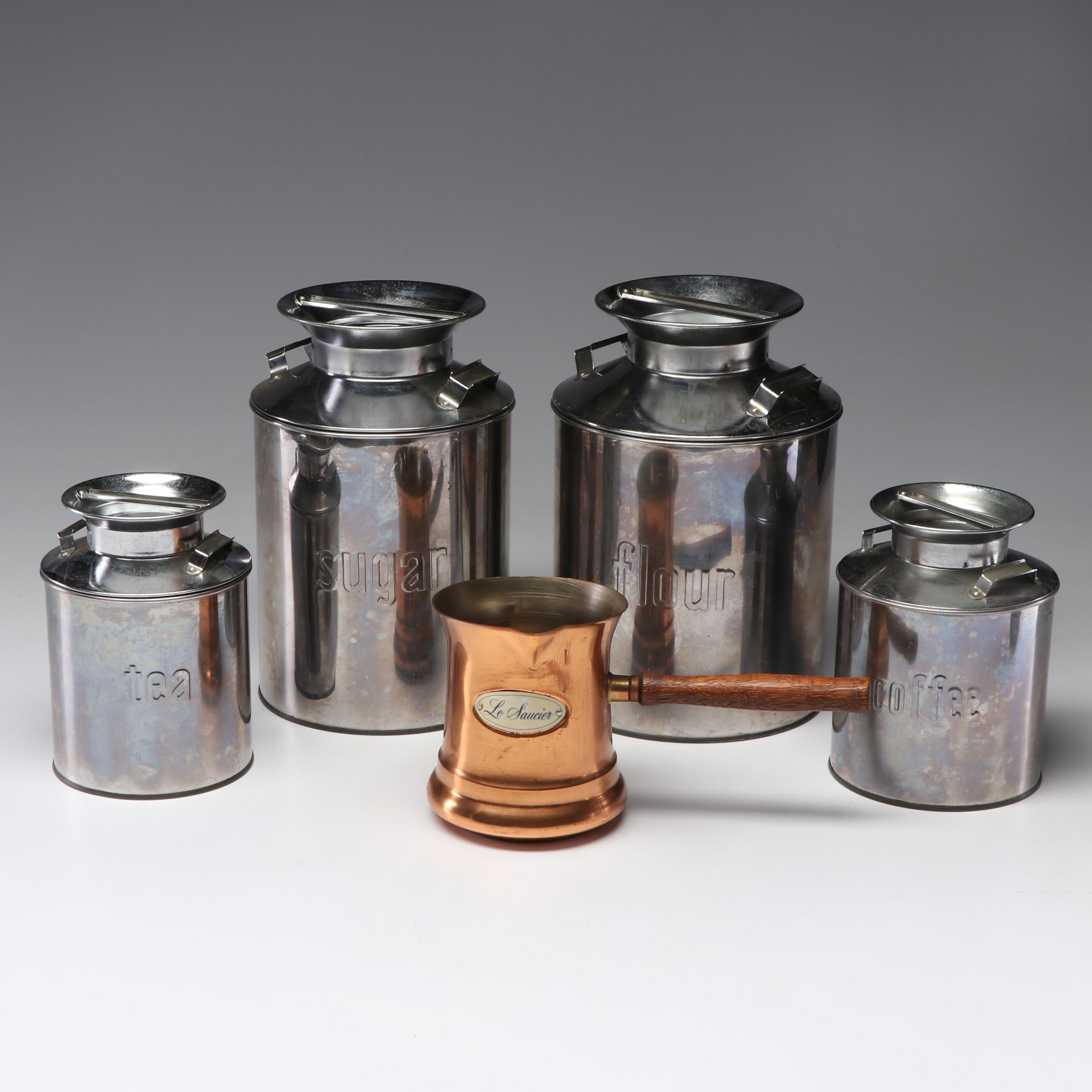 Le Saucier Copper Milk Warmer with Plated Steel Food Canisters