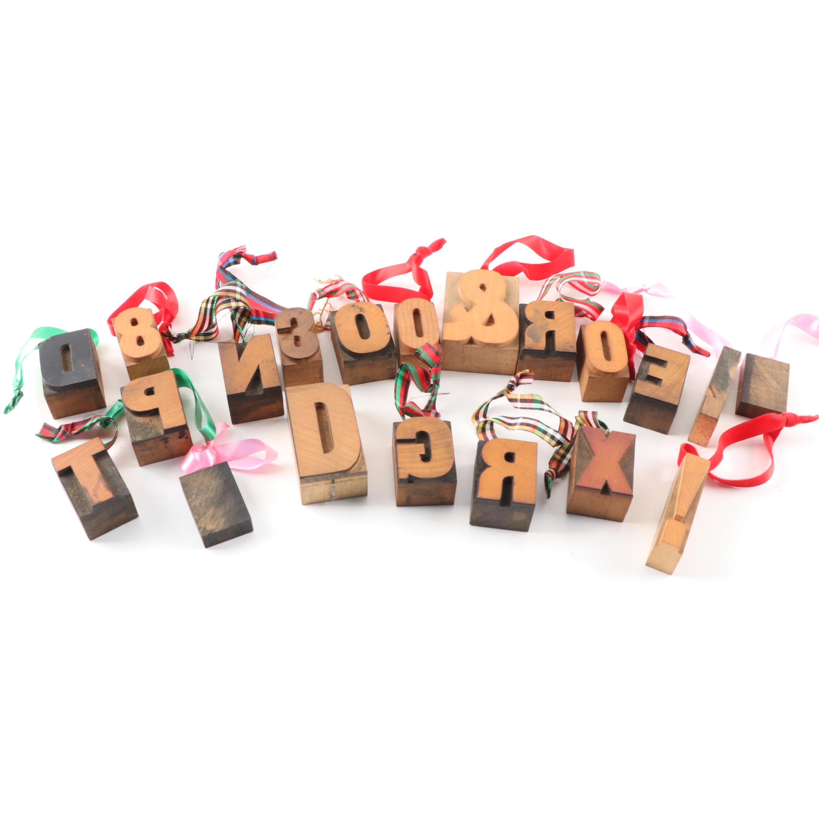 Wooden Print Stamp Letter and Number Ornaments