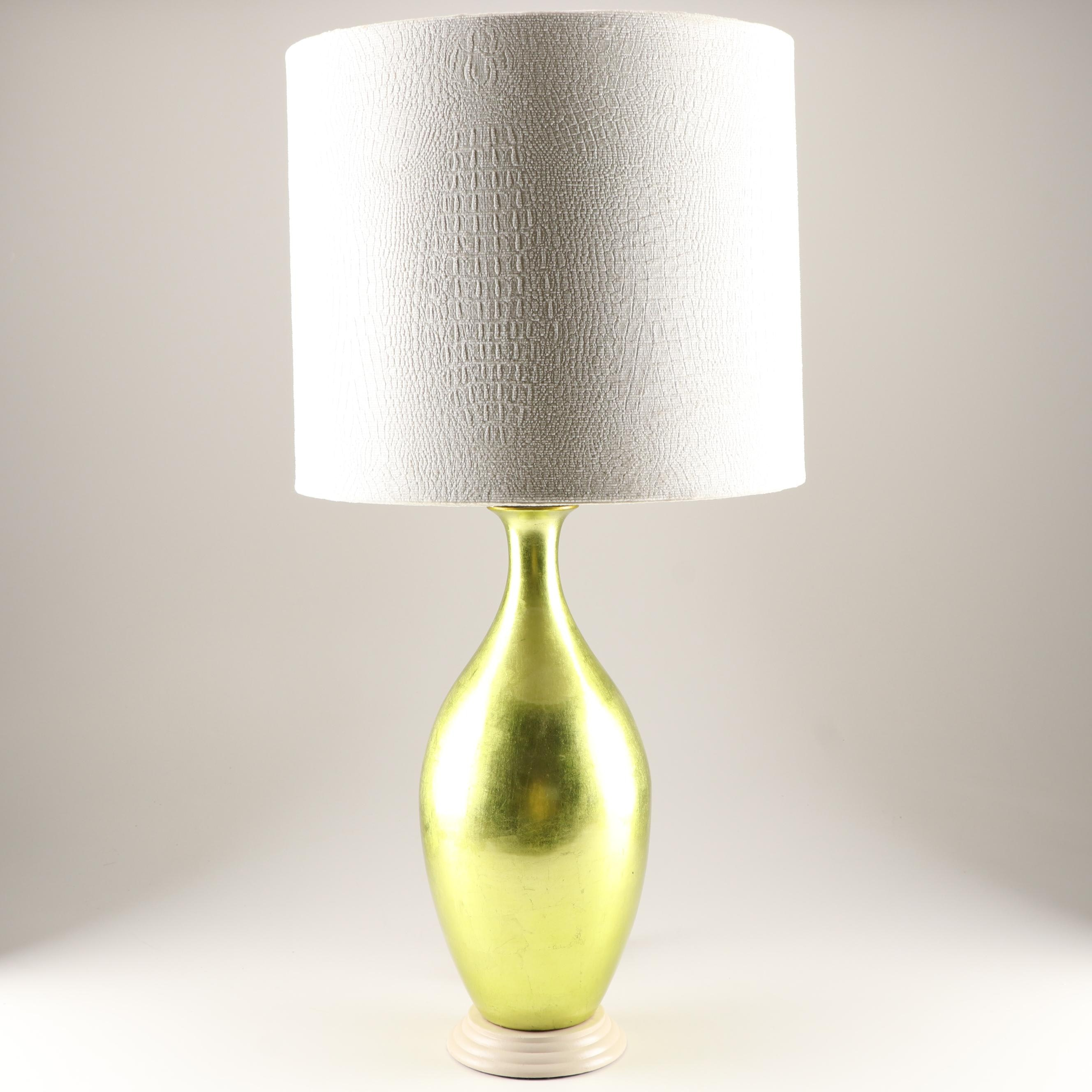 Contemporary Metallic Green Glass Table Lamp