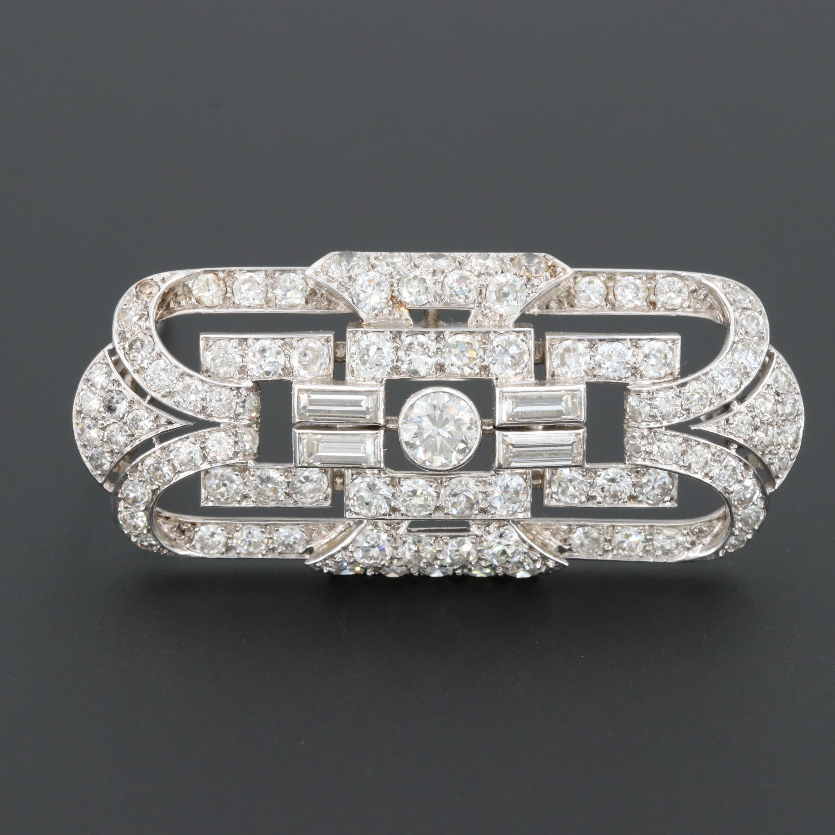 Art Deco Platinum 7.49 CTW Diamond Brooch with 18K and 14K  White Gold