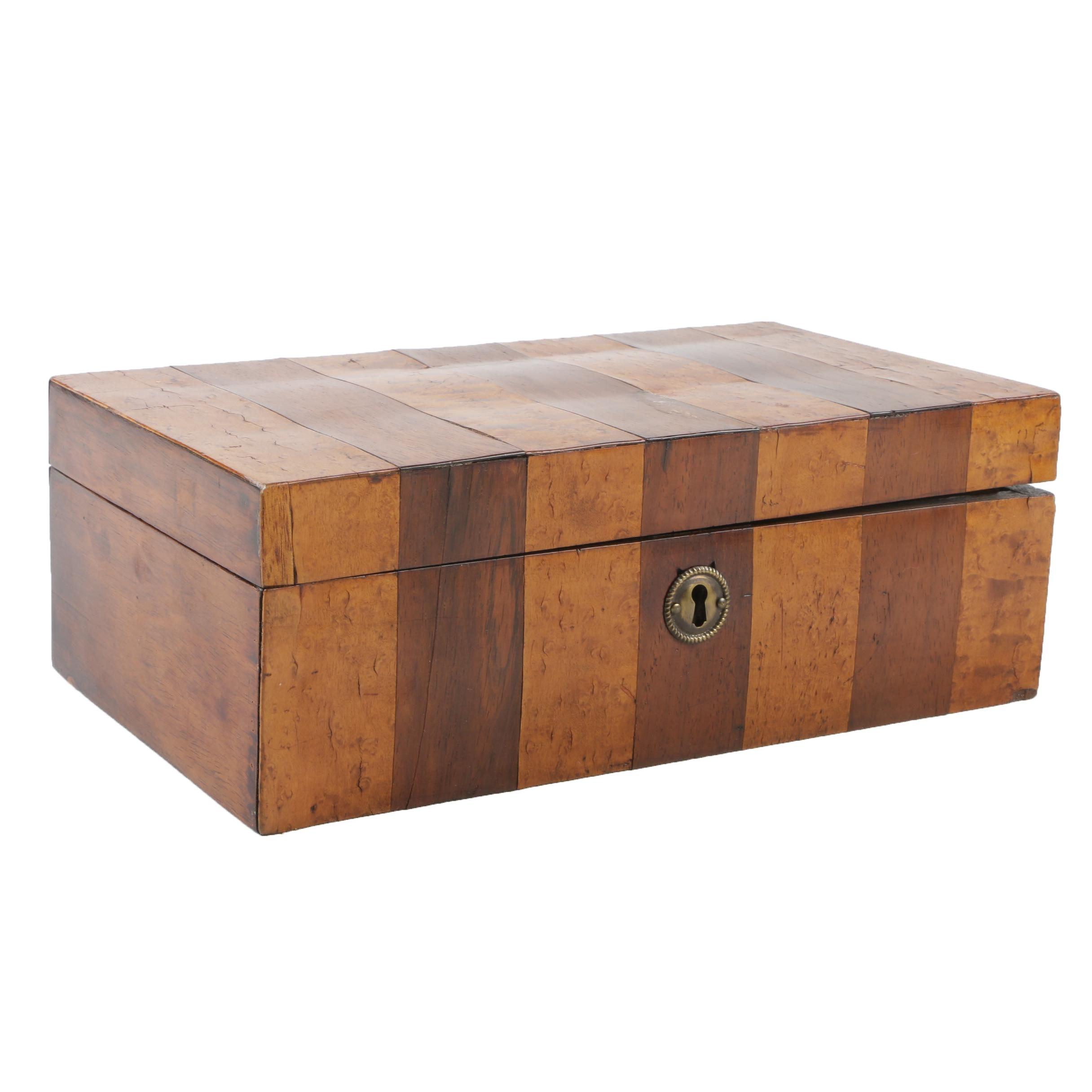 Mahogany and Burl Wood Jewelry Box, Early 20th Century