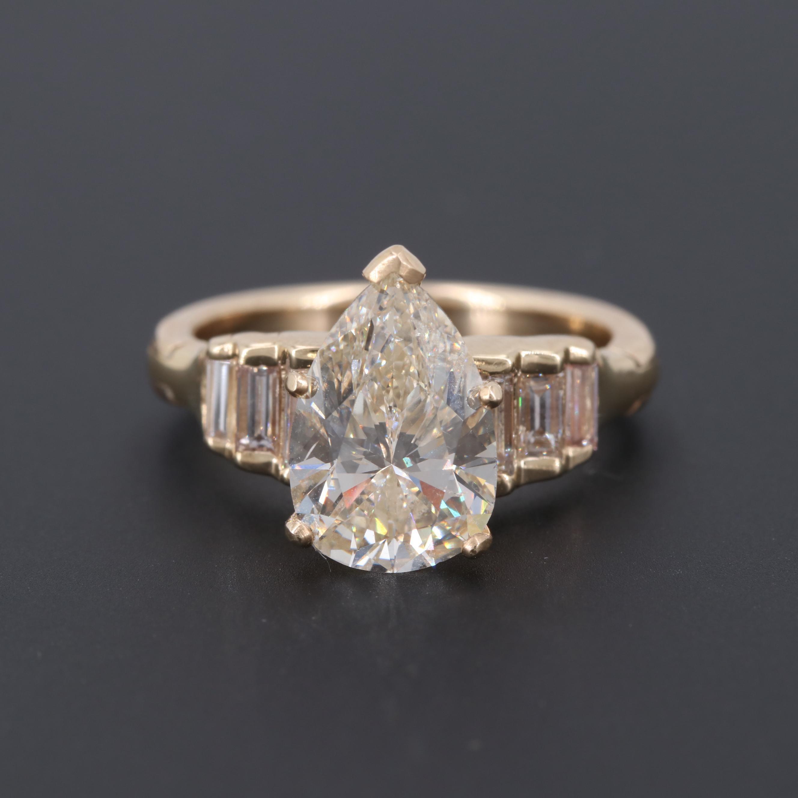 14K Yellow Gold 3.67 CTW Diamond Ring with Arthritic Shank