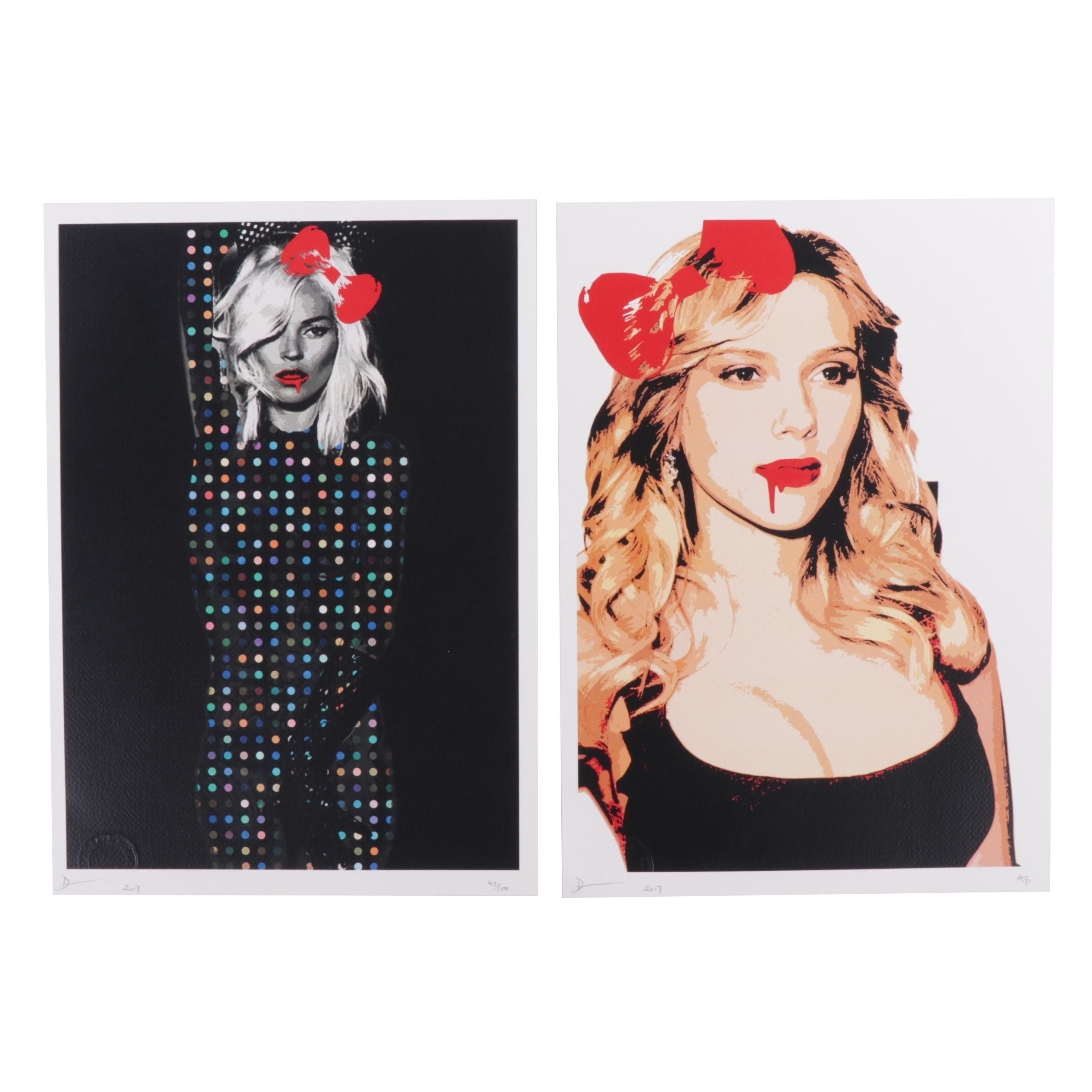 Death NYC Street Art Style Red Bow Offset Prints