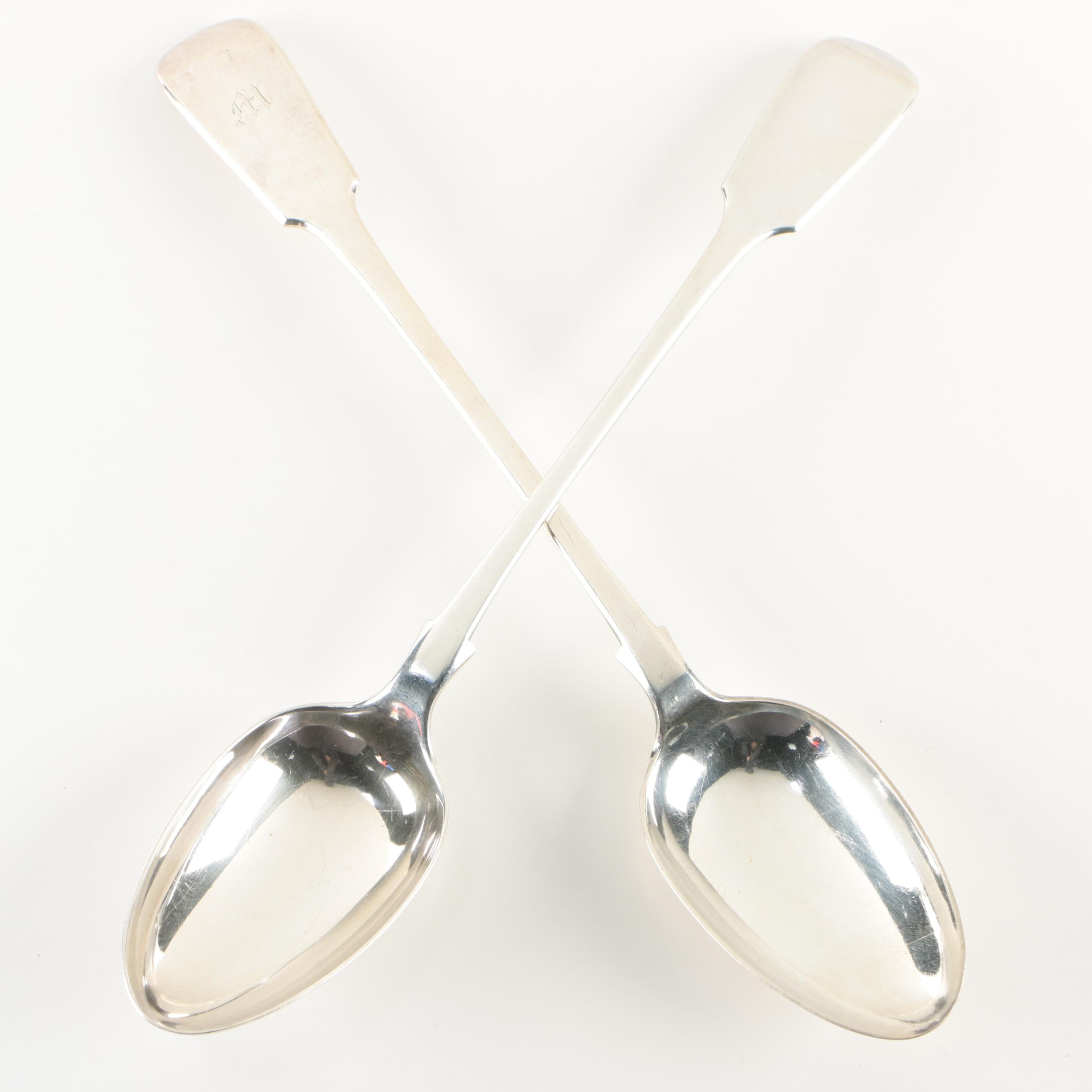 British Silver Plate Tipped Fiddle Handle Serving Spoons,