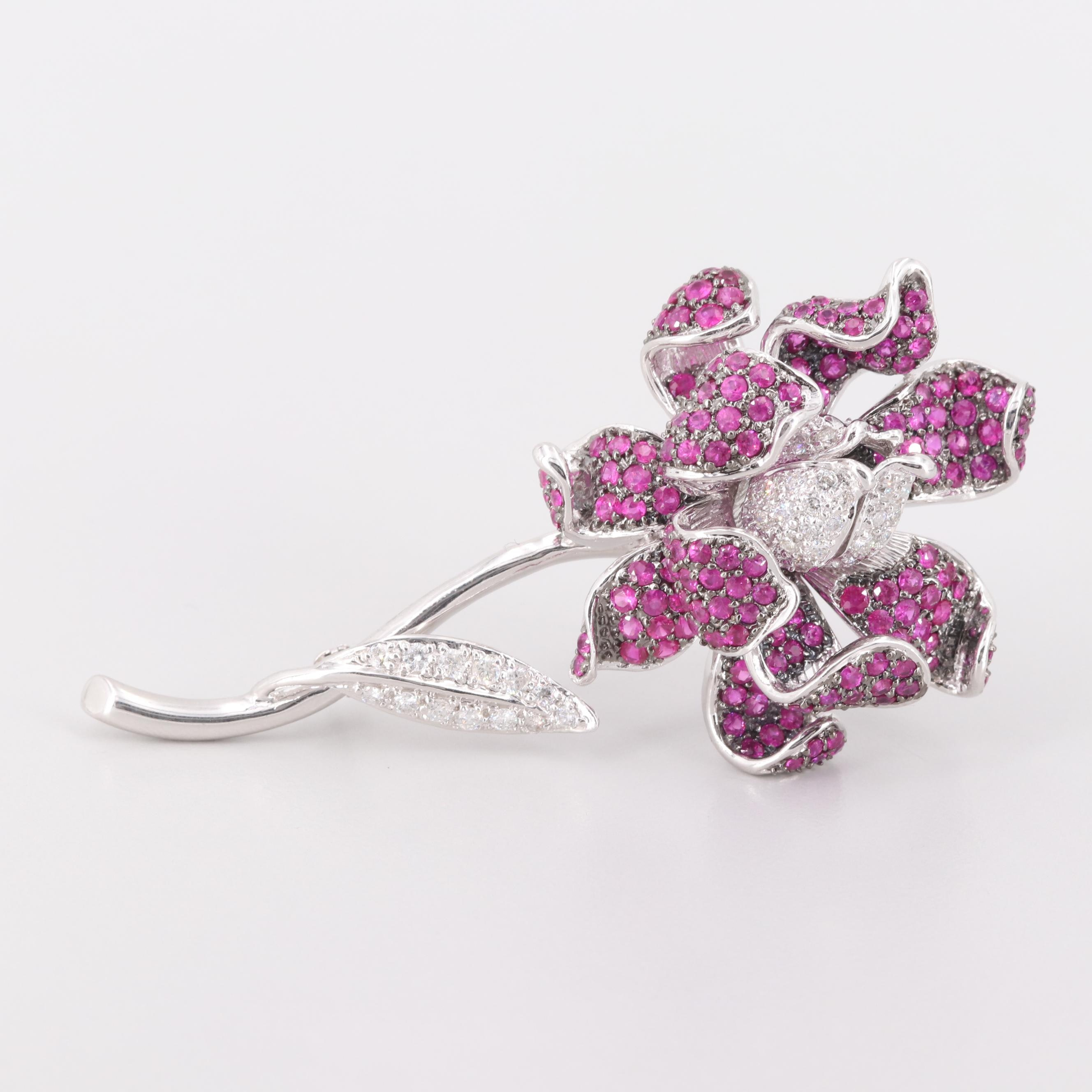 14K White Gold Diamond and Ruby Floral Brooch
