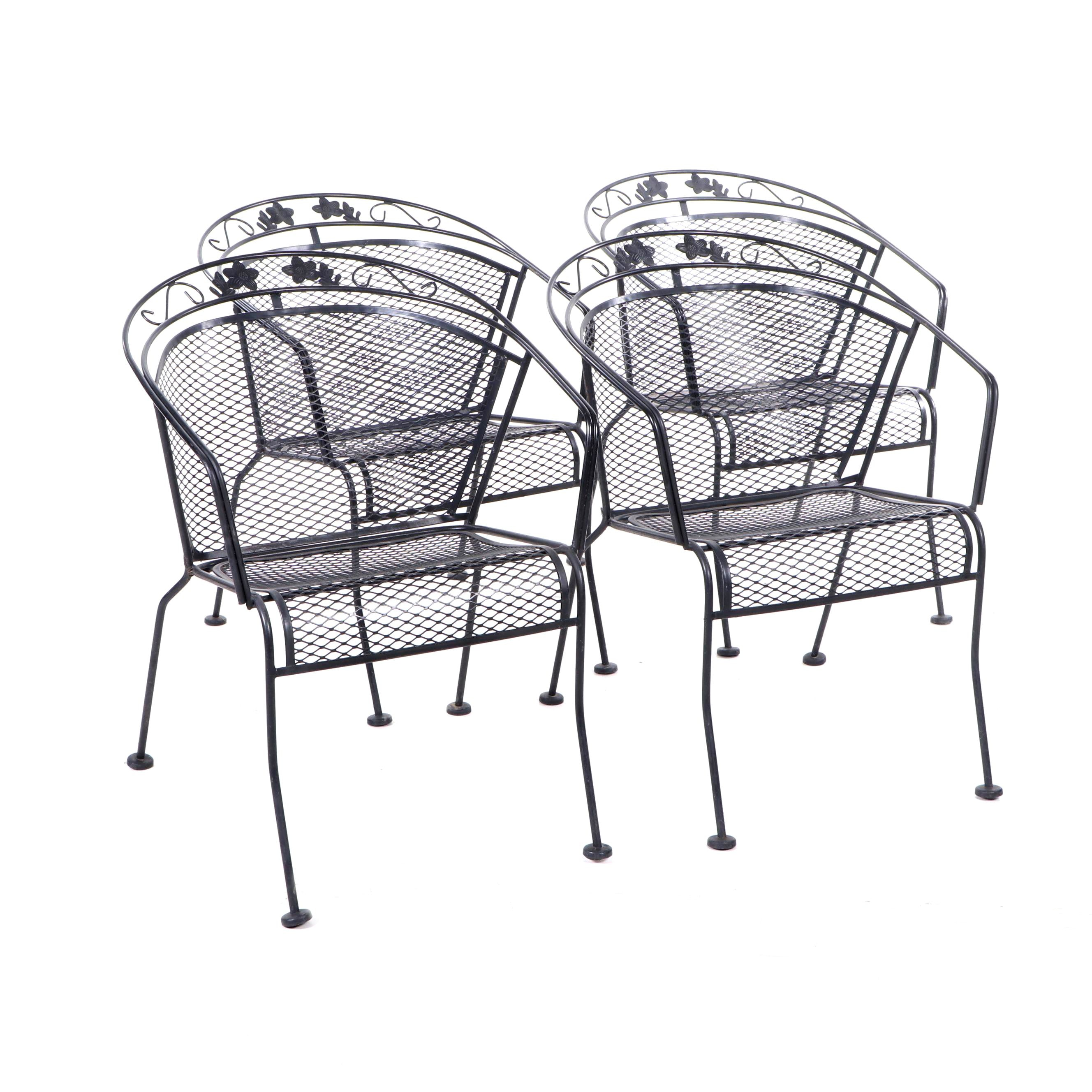 Black Cast Metal Patio Chairs, Contemporary