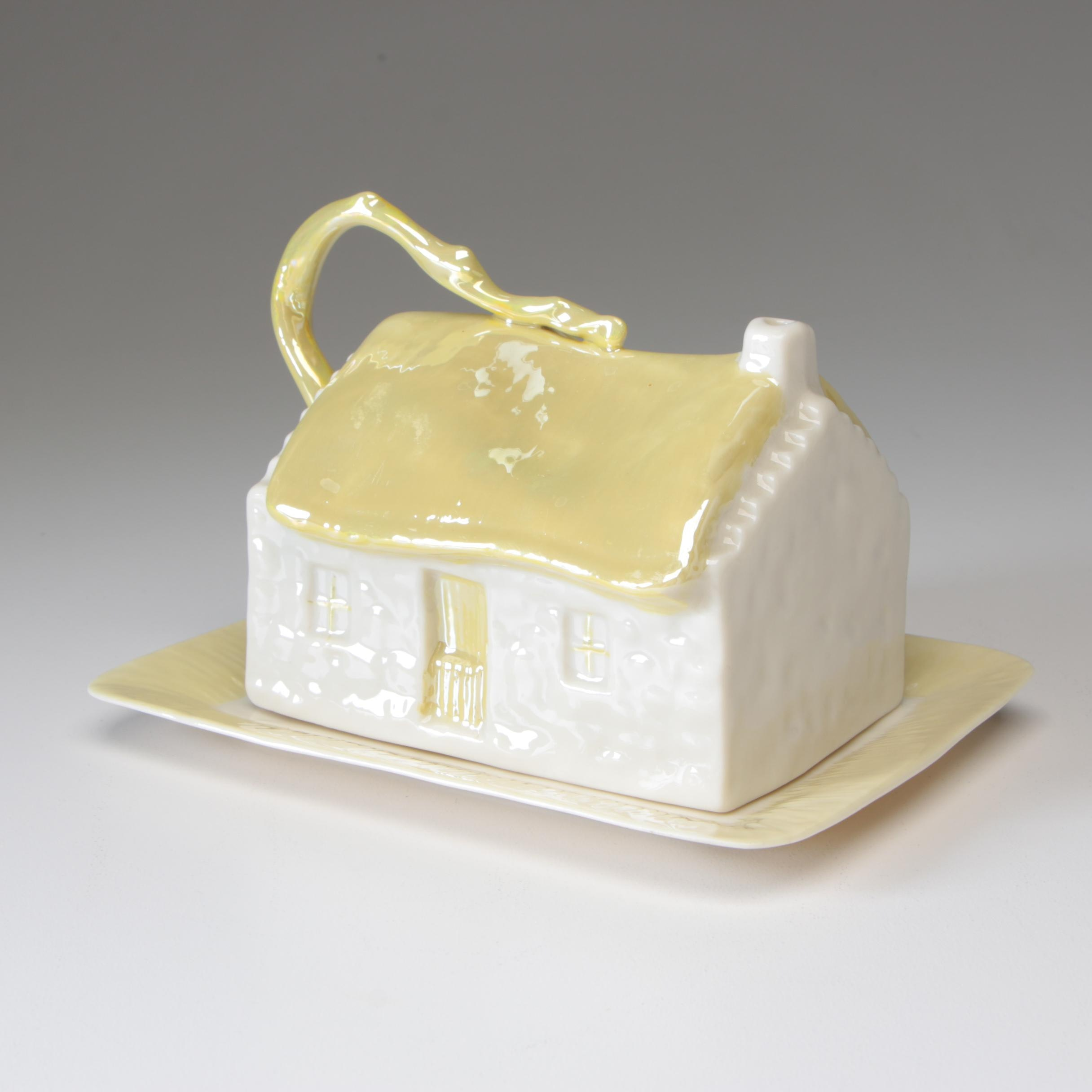 "Belleek ""Cottage"" Porcelain Cheese Dish, 1980–1993"